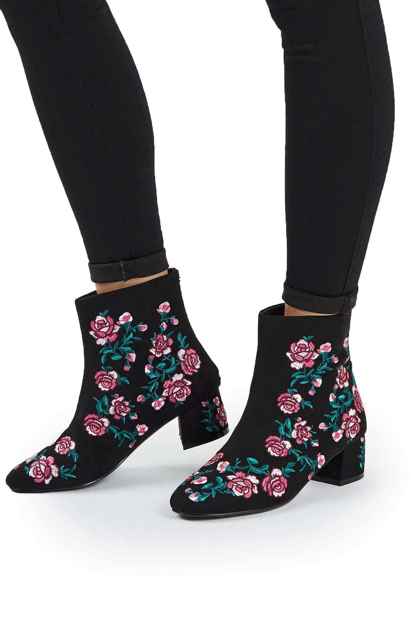 Blossom Embroidered Bootie,                             Alternate thumbnail 4, color,                             650