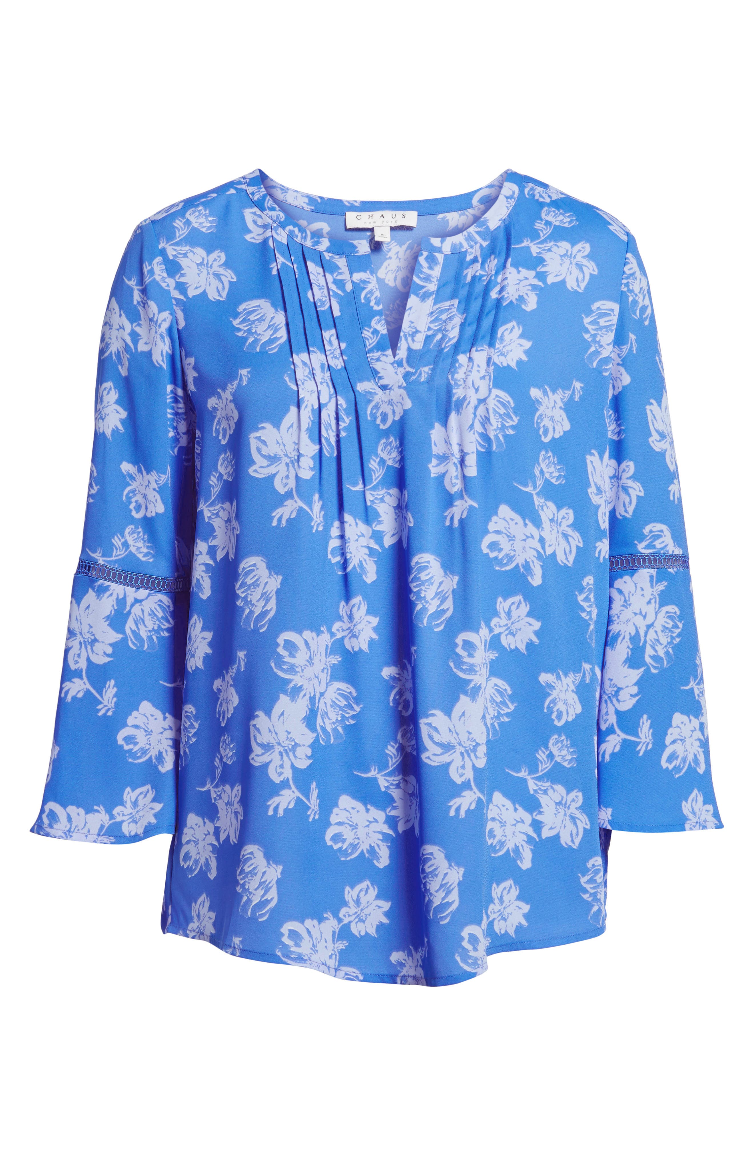 Bell Sleeve Floral Pintuck Blouse,                             Alternate thumbnail 6, color,                             428