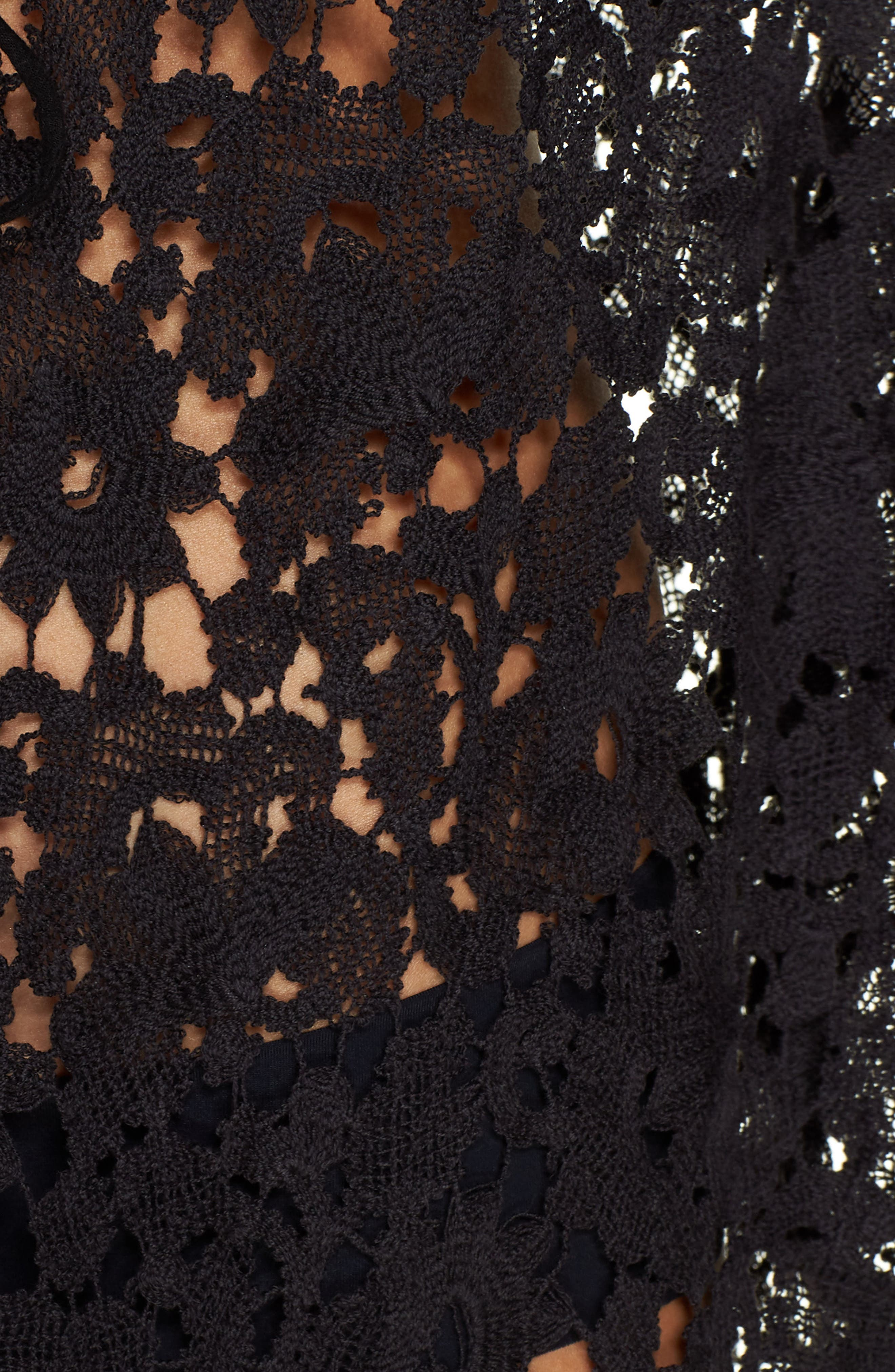 FREE PEOPLE,                             Move Over Lace Wrap,                             Alternate thumbnail 5, color,                             BLACK