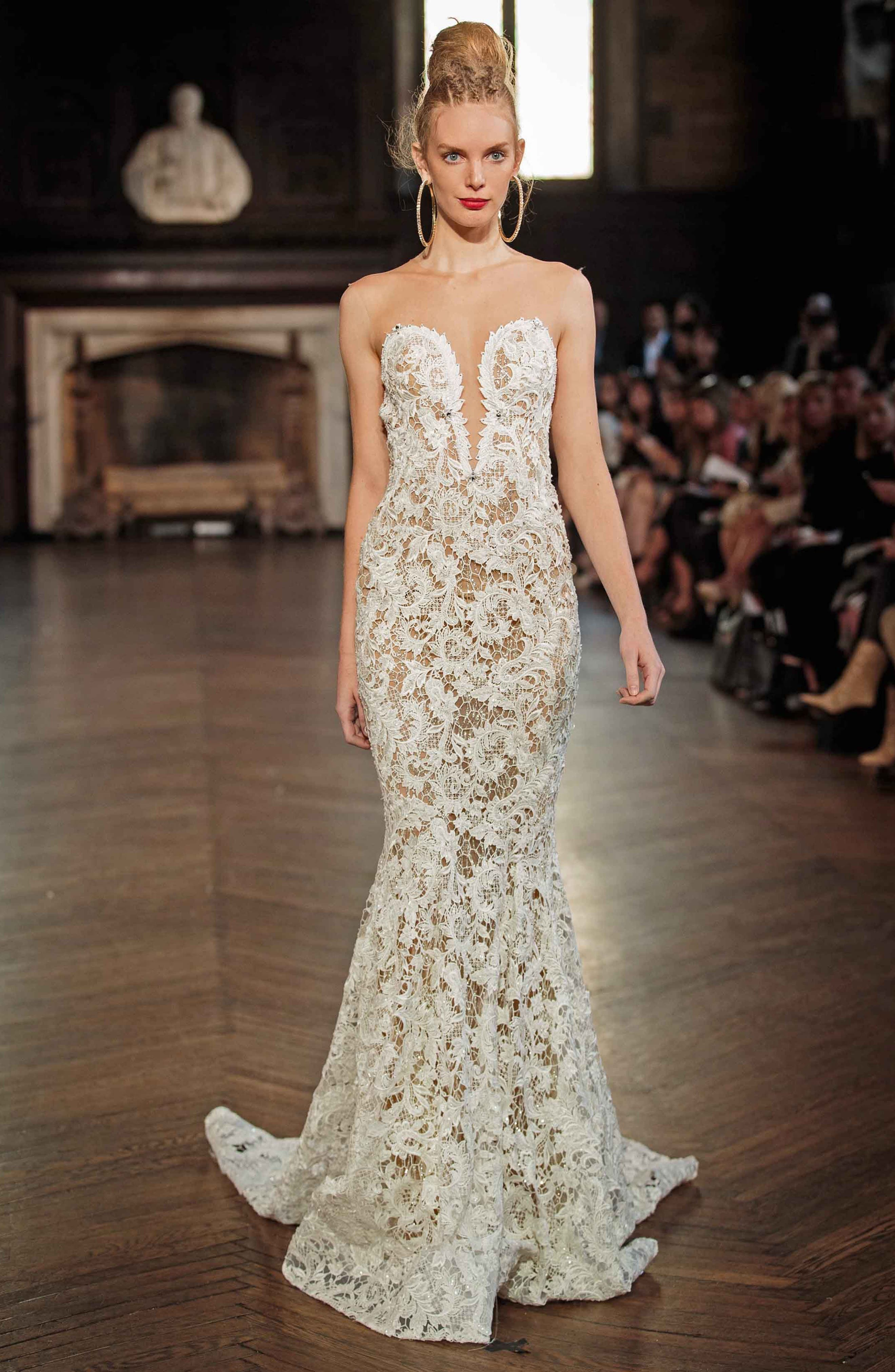 Illusion Lace Mermaid Gown,                             Alternate thumbnail 2, color,                             IVORY