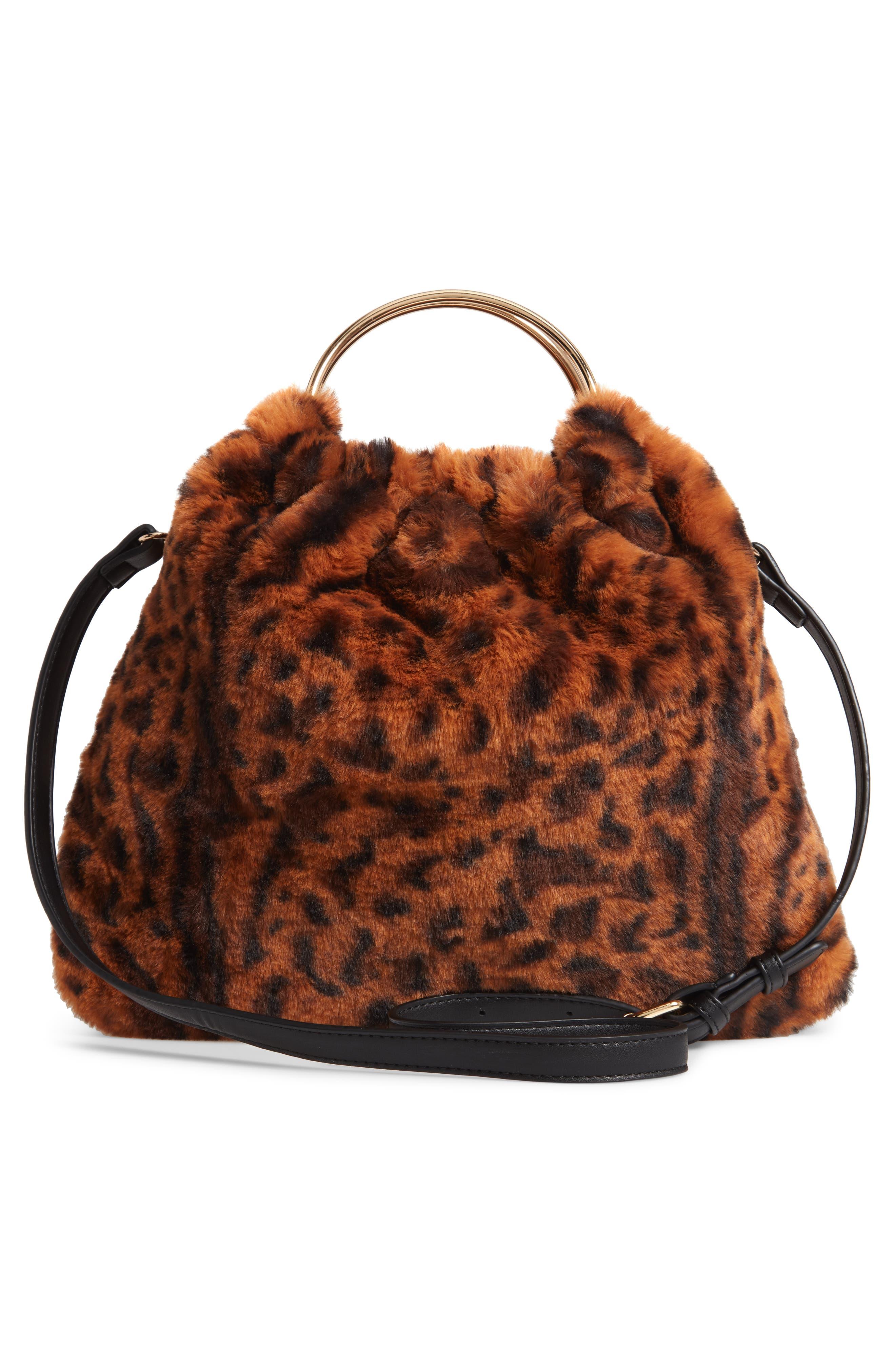 Ring Handle Faux Fur Bag,                             Alternate thumbnail 3, color,                             LEOPARD