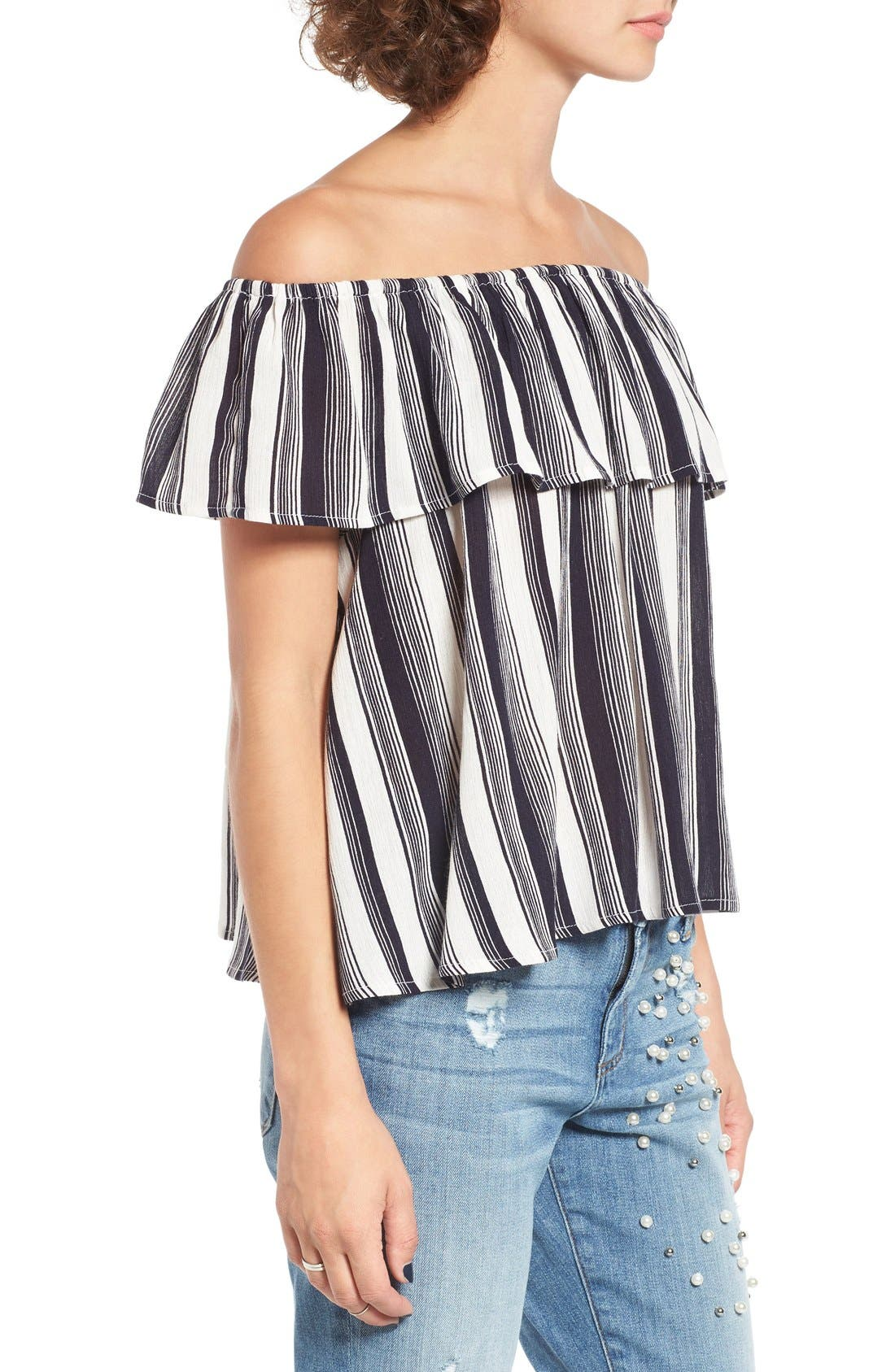 LOVE, FIRE,                             Fire Stripe Off the Shoulder Top,                             Alternate thumbnail 3, color,                             410