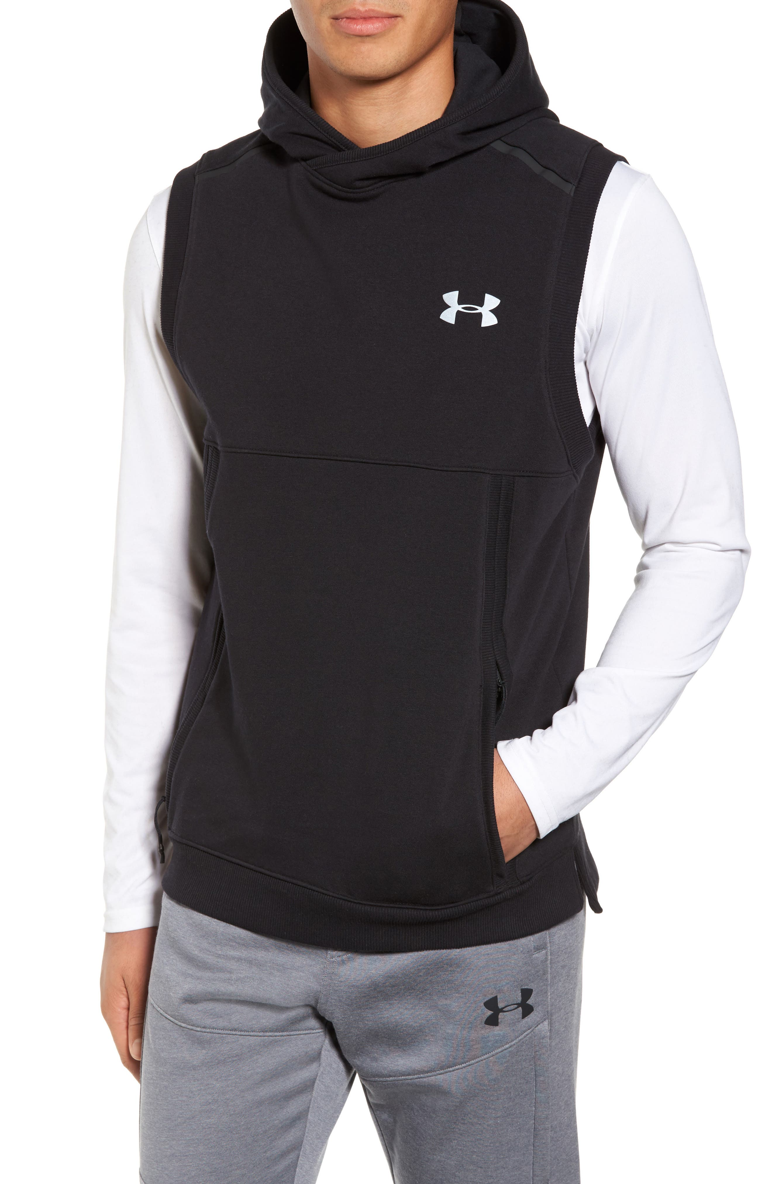 Threadborne Hooded Vest,                         Main,                         color, 001