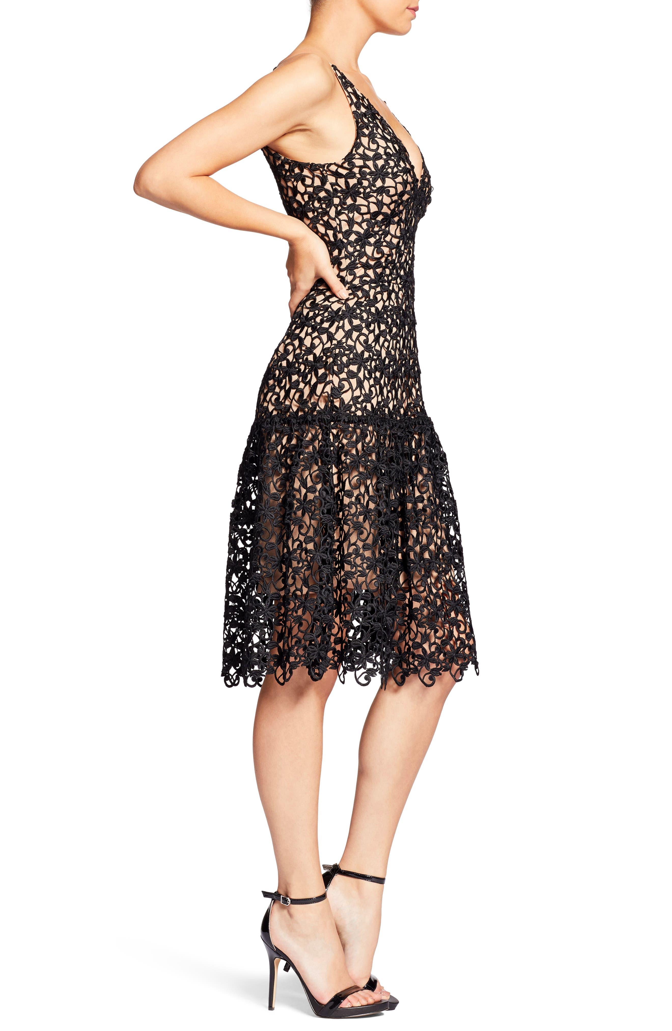 Lily Crochet Fit & Flare Dress,                             Alternate thumbnail 3, color,                             004