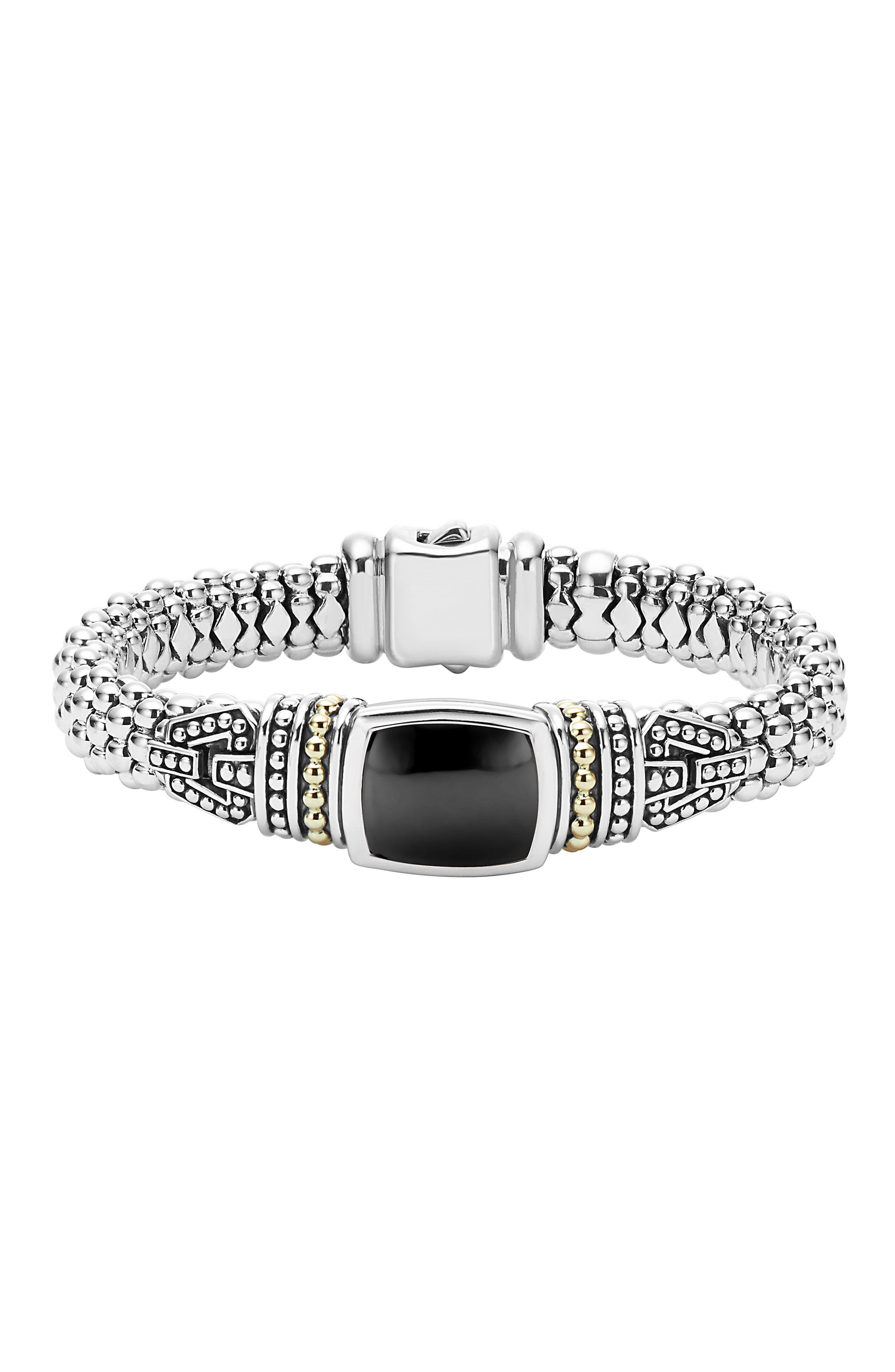 'Caviar Color' Semiprecious Stone Bracelet,                             Main thumbnail 1, color,                             BLACK ONYX