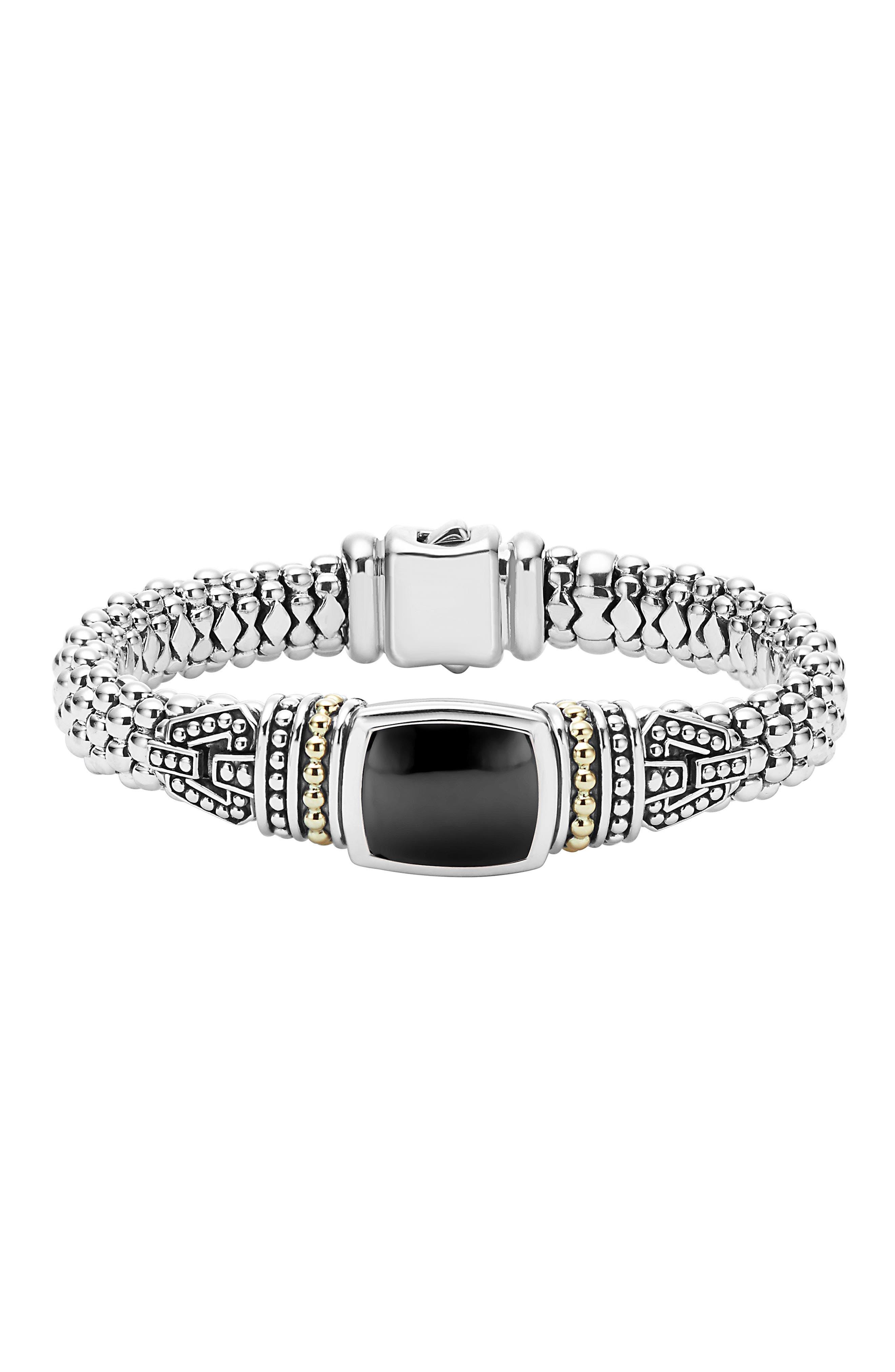 'Caviar Color' Semiprecious Stone Bracelet,                         Main,                         color, BLACK ONYX