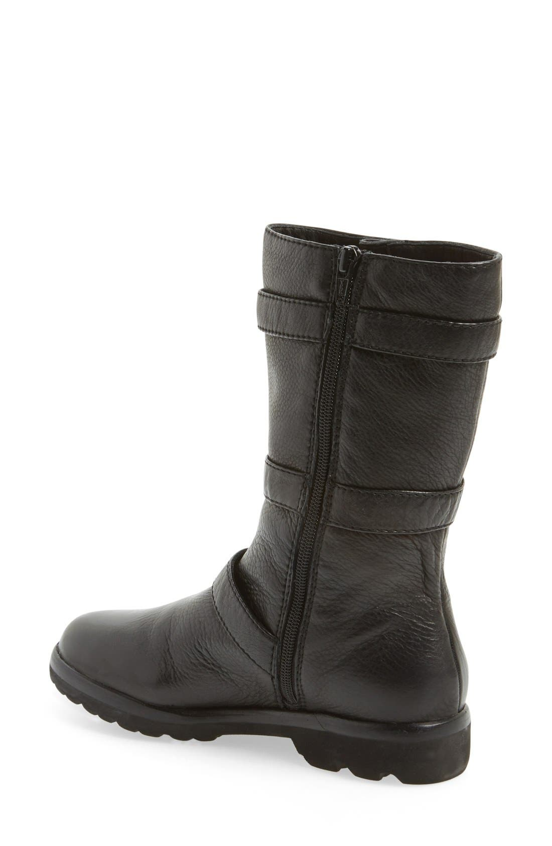 L'Amour Des Pieds 'Racey' Belted Mid Boot,                             Alternate thumbnail 3, color,                             001