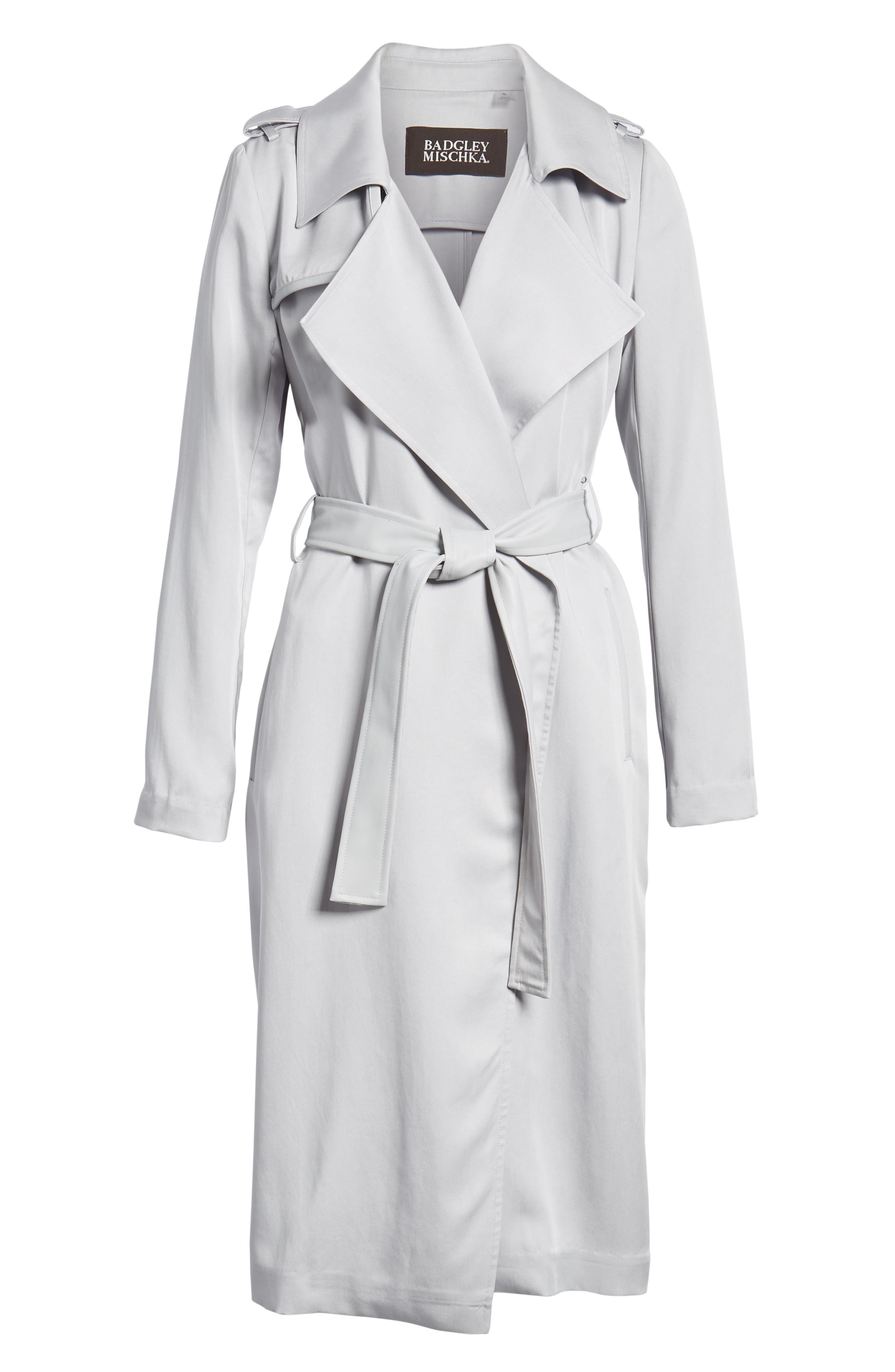 Badgley Mischka Faux Leather Trim Long Trench Coat,                             Alternate thumbnail 6, color,                             020