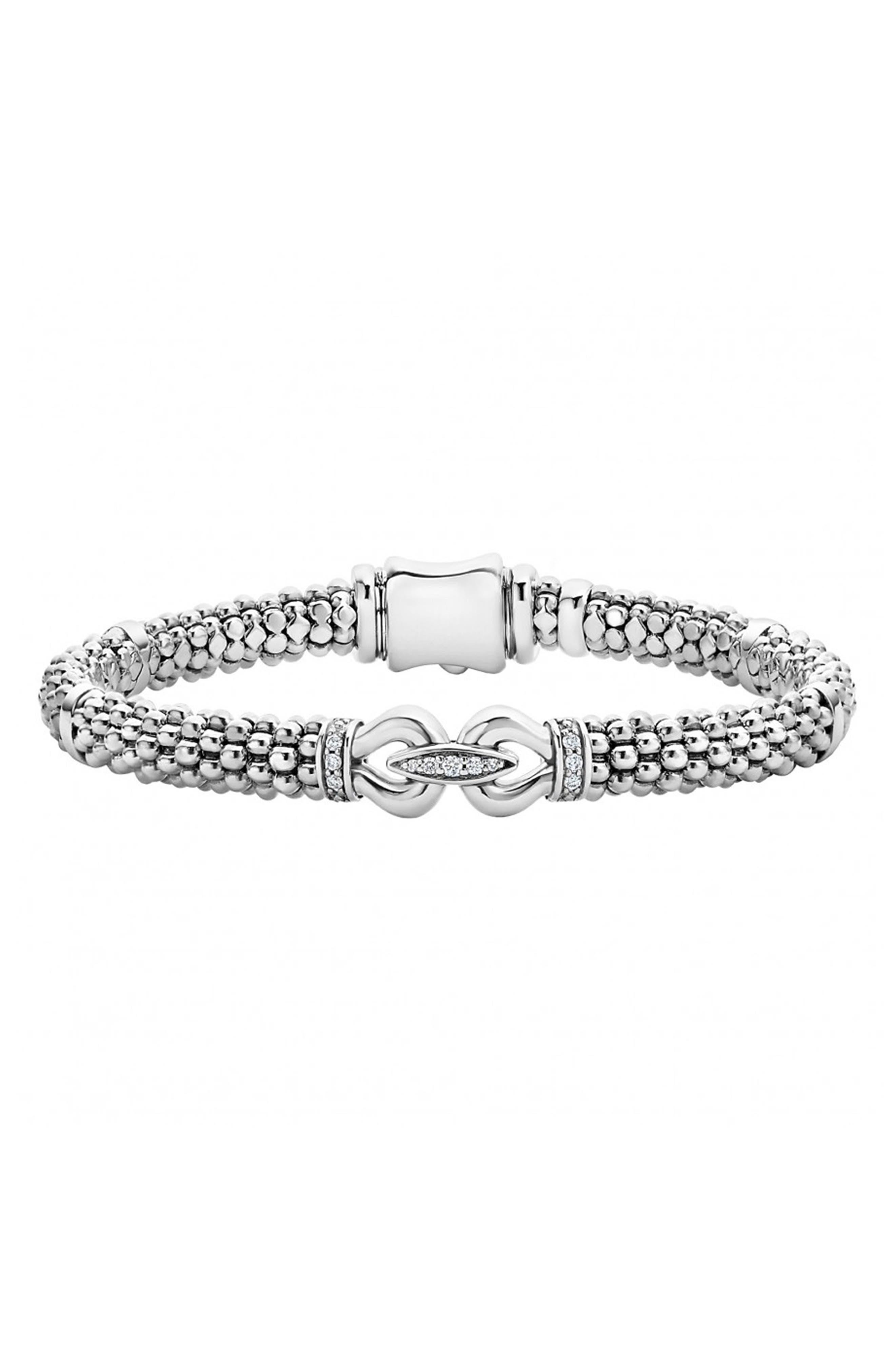 'Derby' Diamond Buckle Rope Bracelet,                             Alternate thumbnail 2, color,                             STERLING SILVER