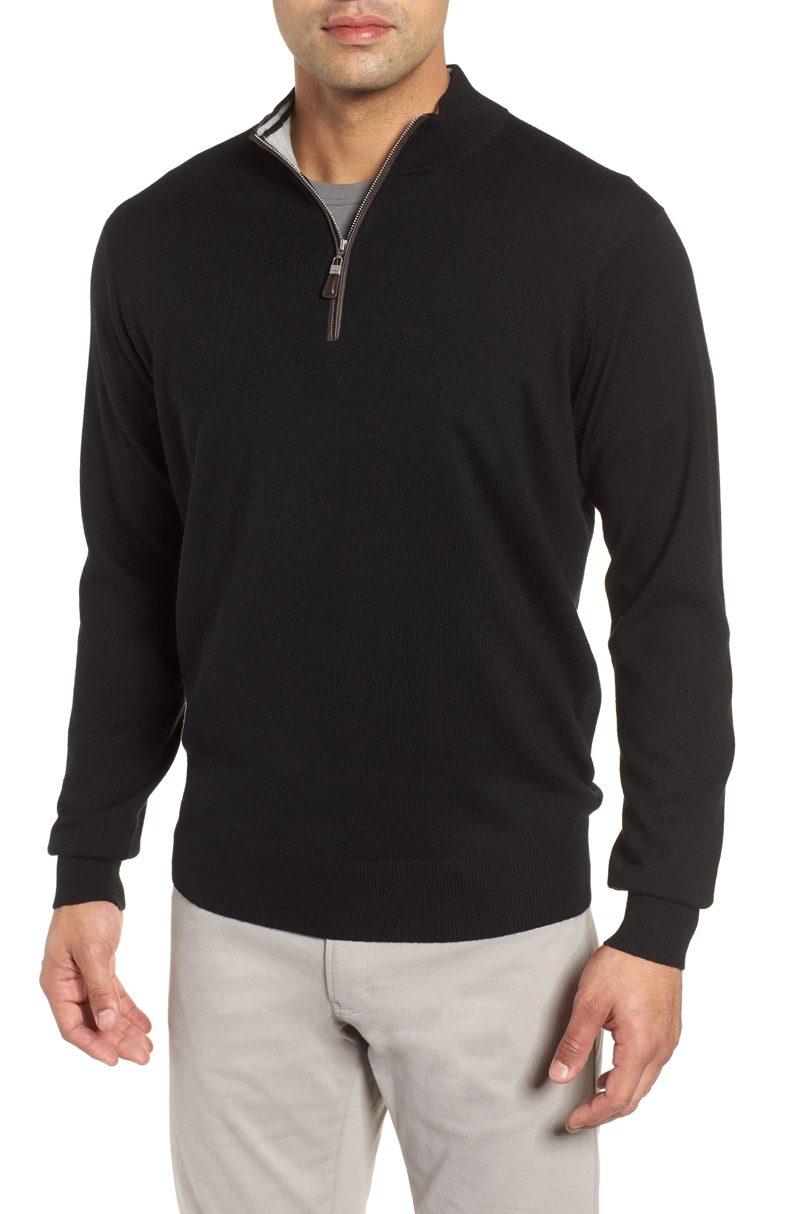 Crown Soft Wool Blend Quarter Zip Sweater,                         Main,                         color, 001