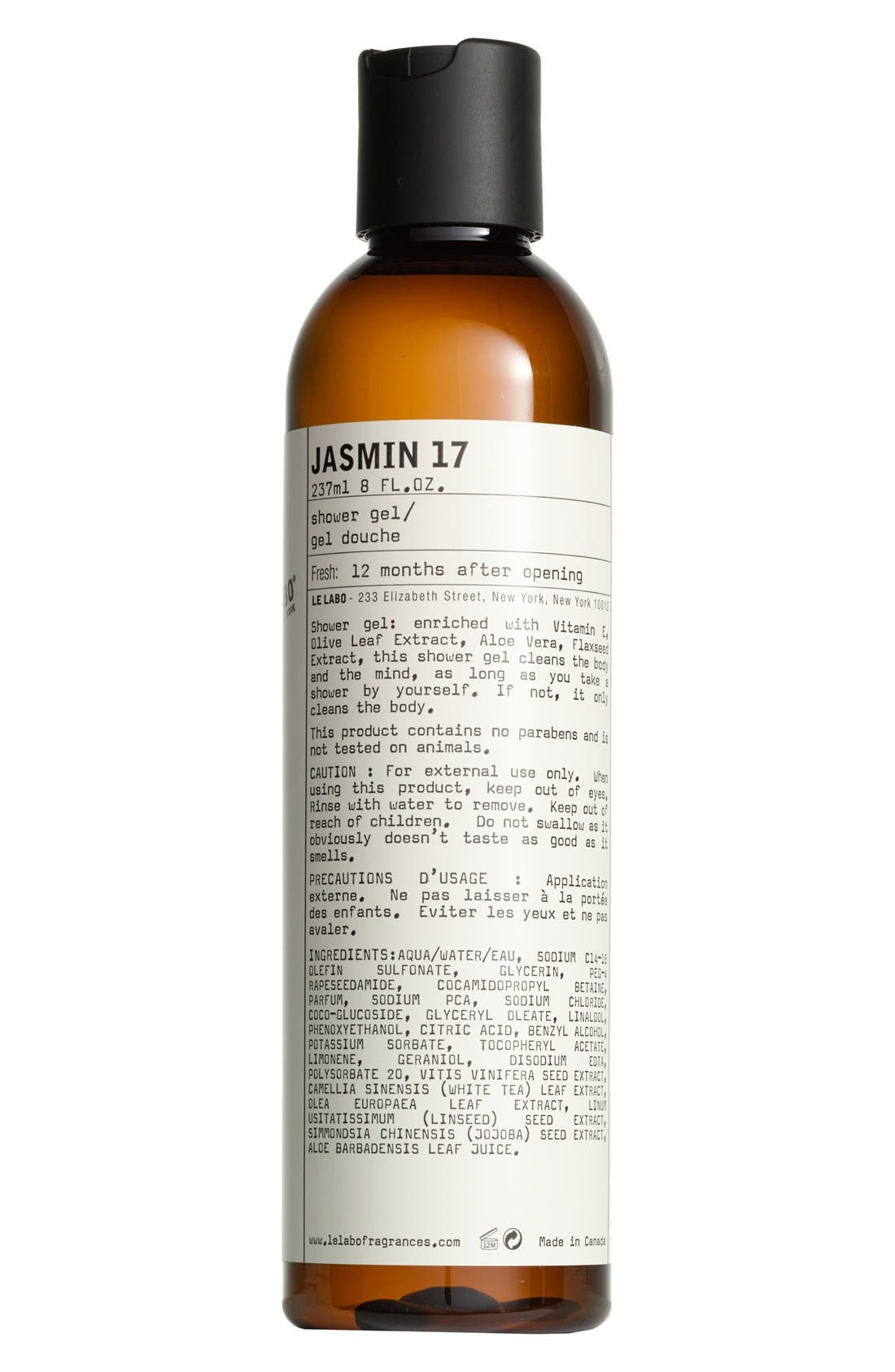 'Jasmin 17' Shower Gel,                             Main thumbnail 1, color,                             NO COLOR