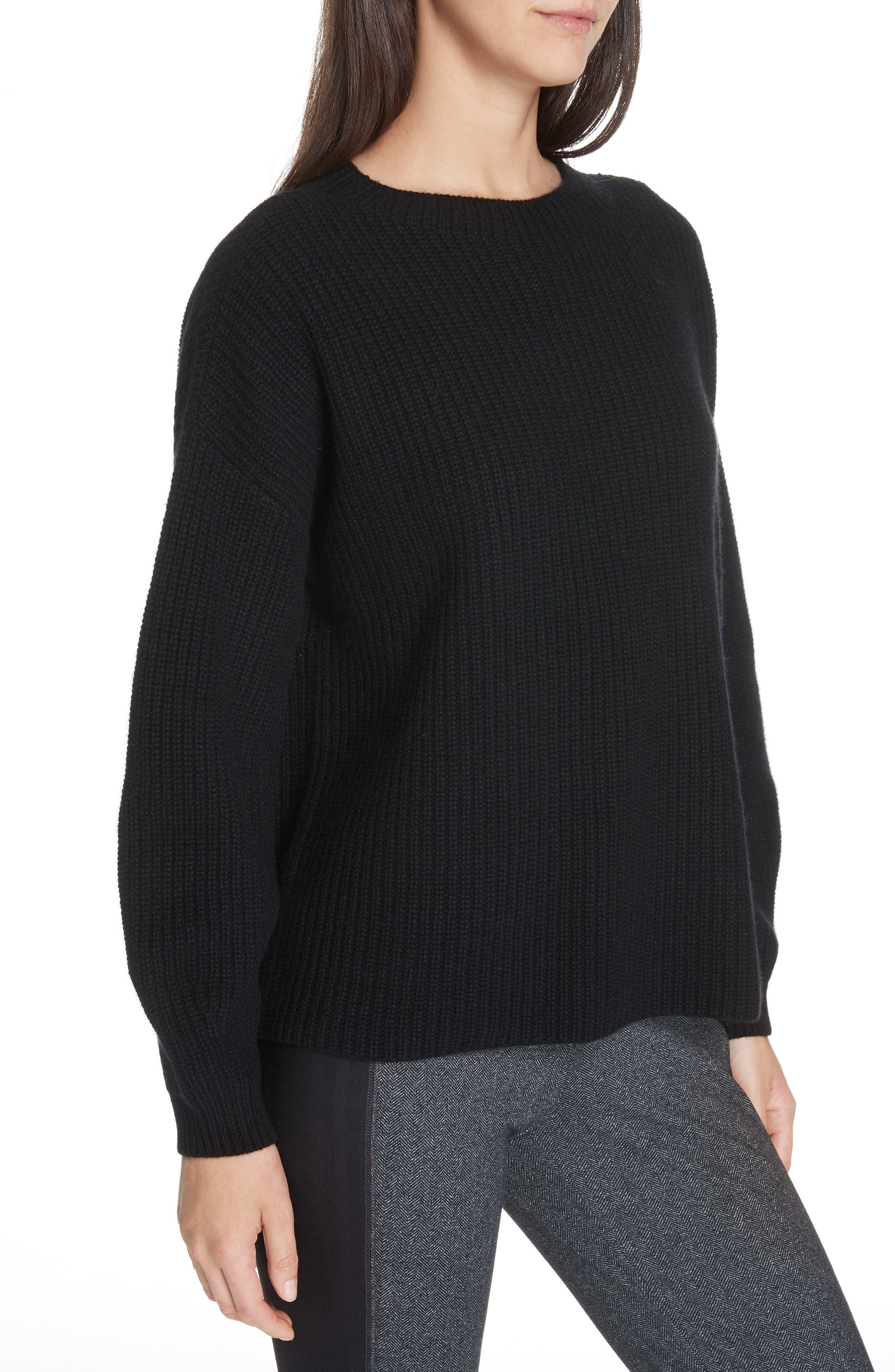 Crewneck Shaker Cashmere Sweater,                             Alternate thumbnail 4, color,                             BLACK