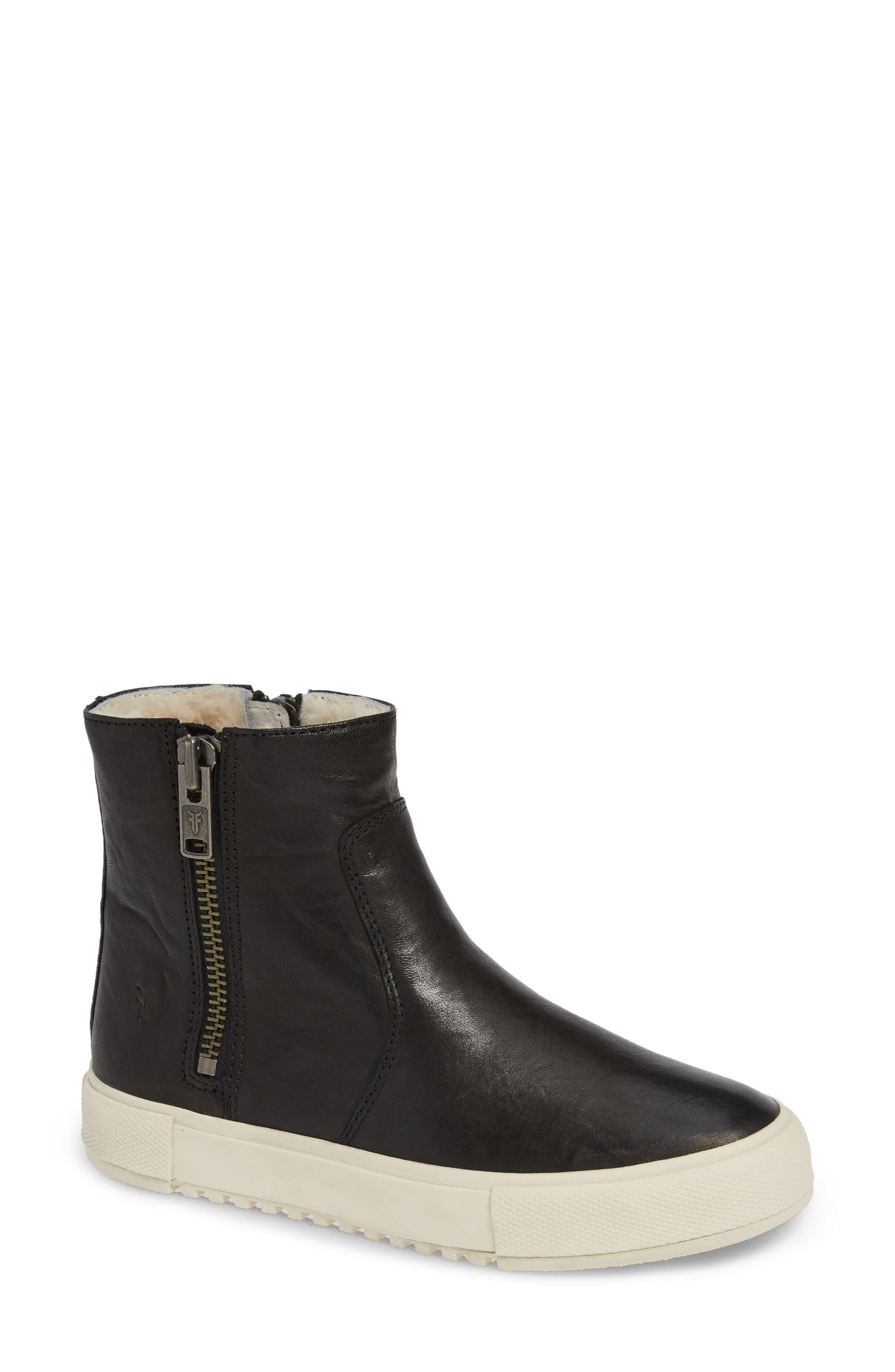 Gia Shearling-Lined Leather High-Top Boots in Black Leather