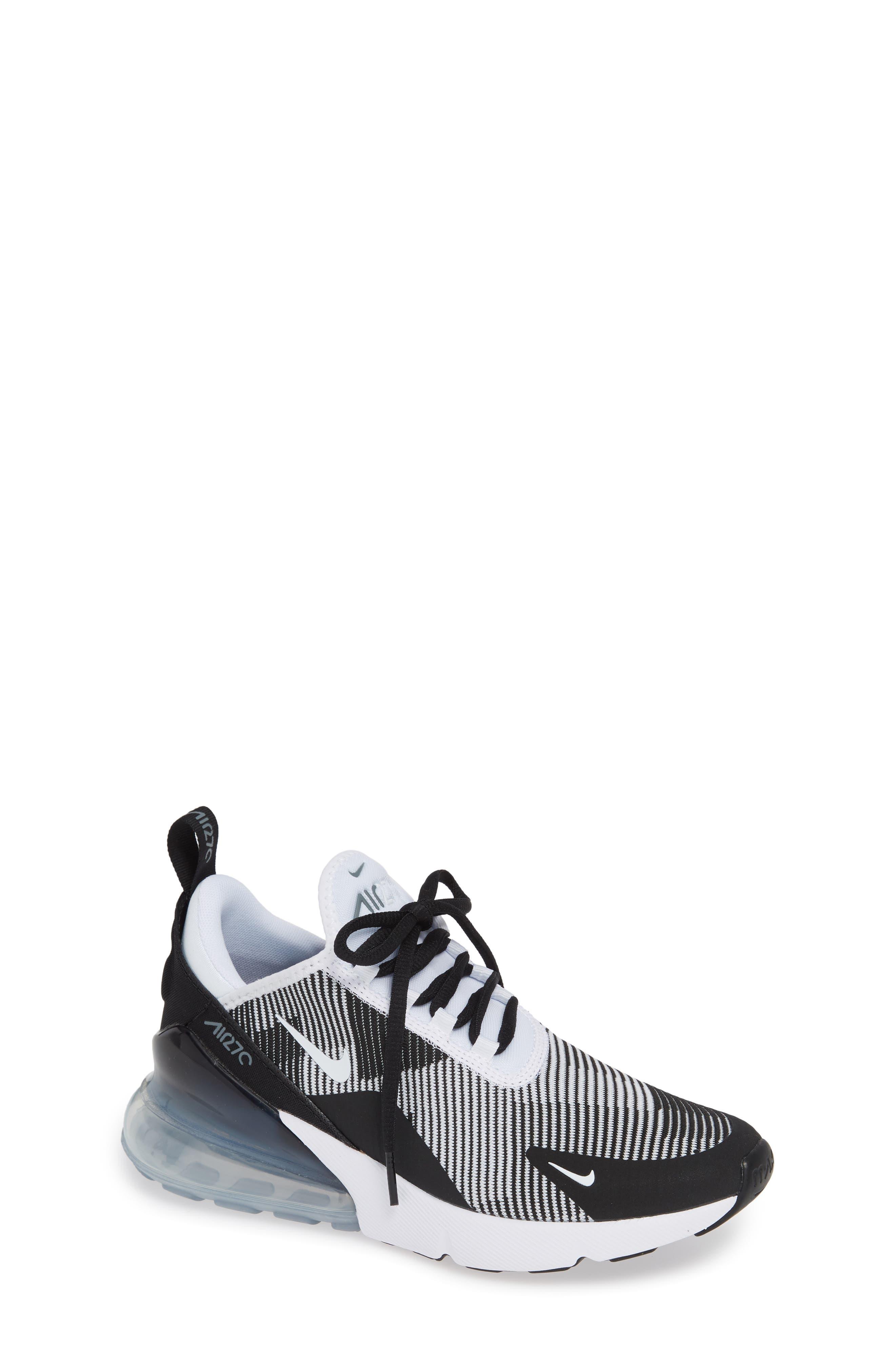 Air Max 270 Sneaker,                         Main,                         color, BLACK/ WHITE/ GREY/ SILVER