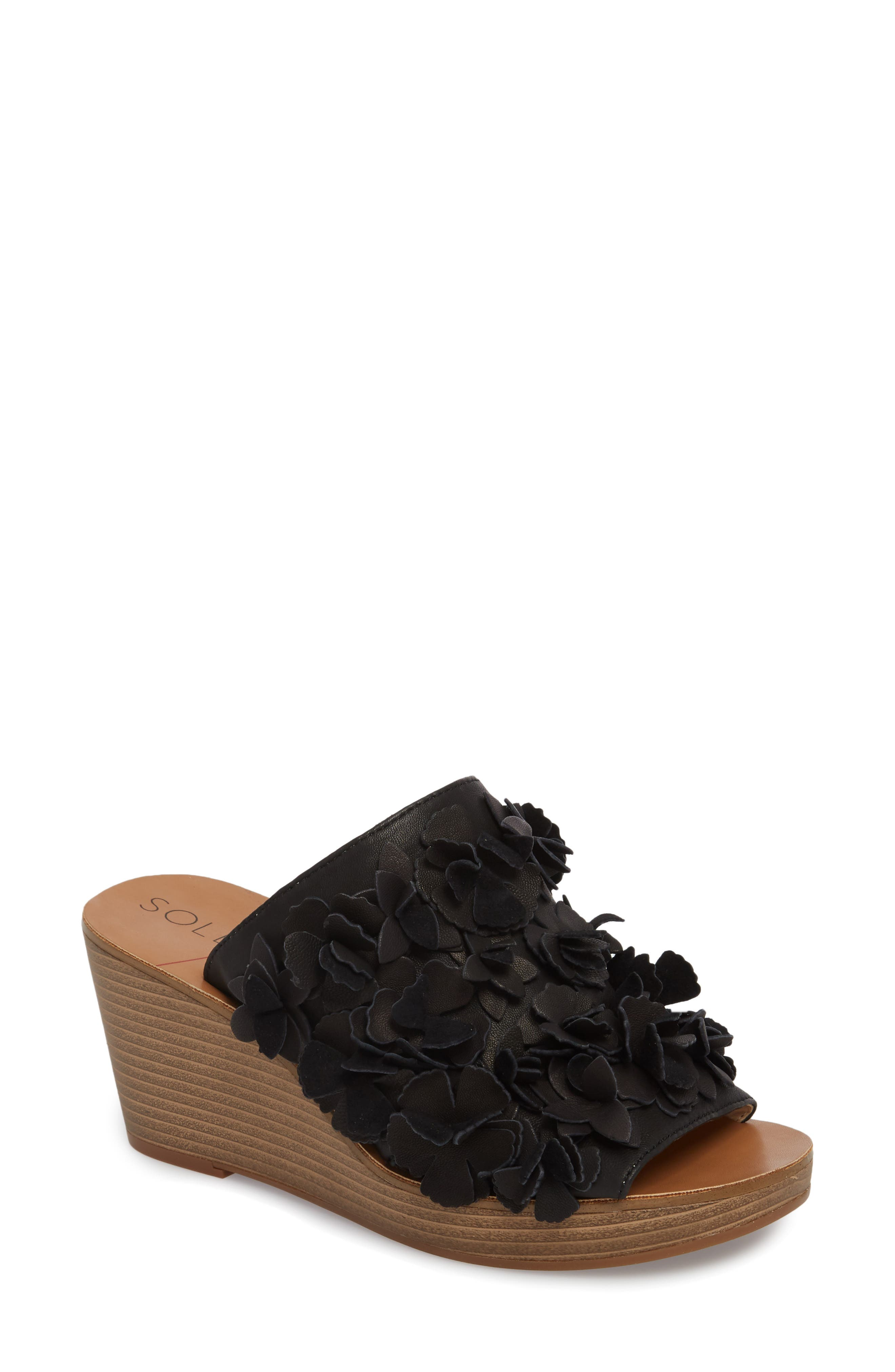 Poppie Wedge Sandal,                         Main,                         color, BLACK