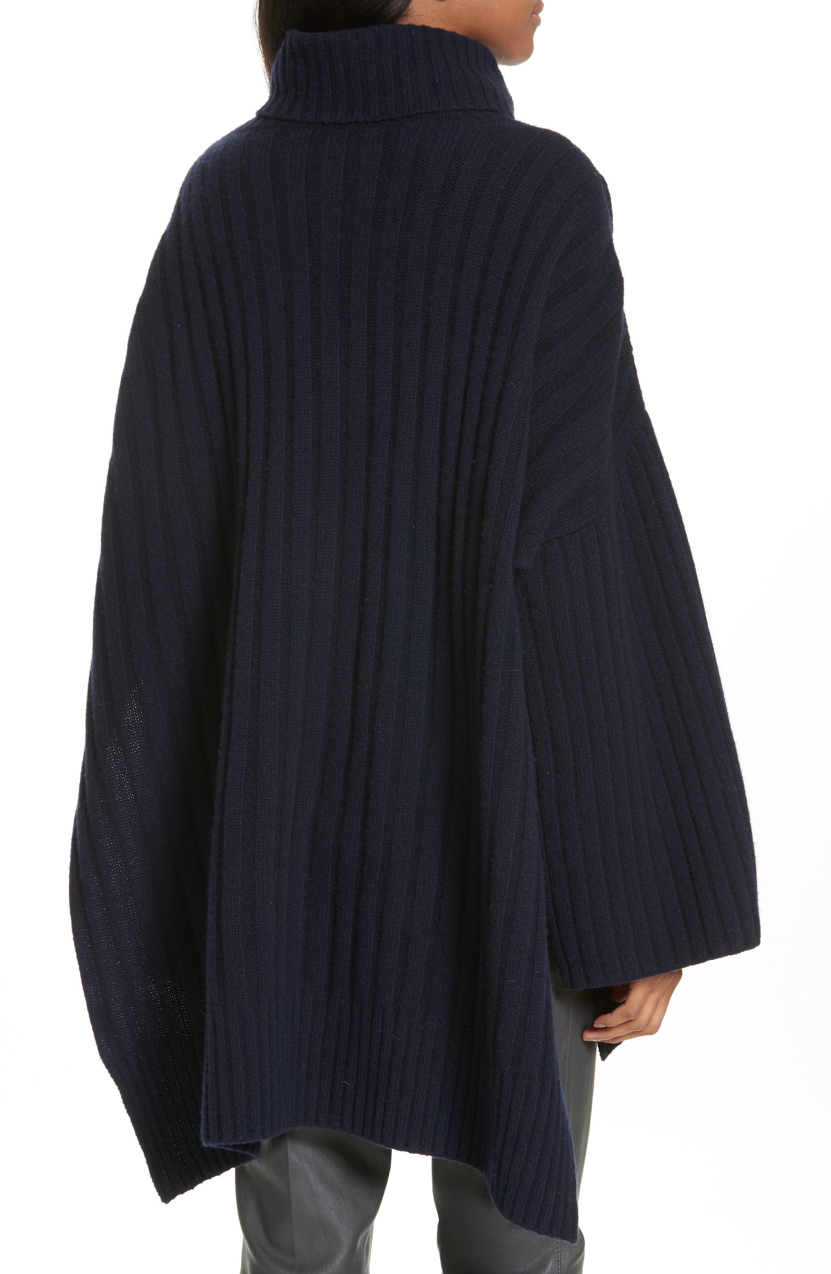 Ribbed Wool Poncho,                             Alternate thumbnail 2, color,                             410