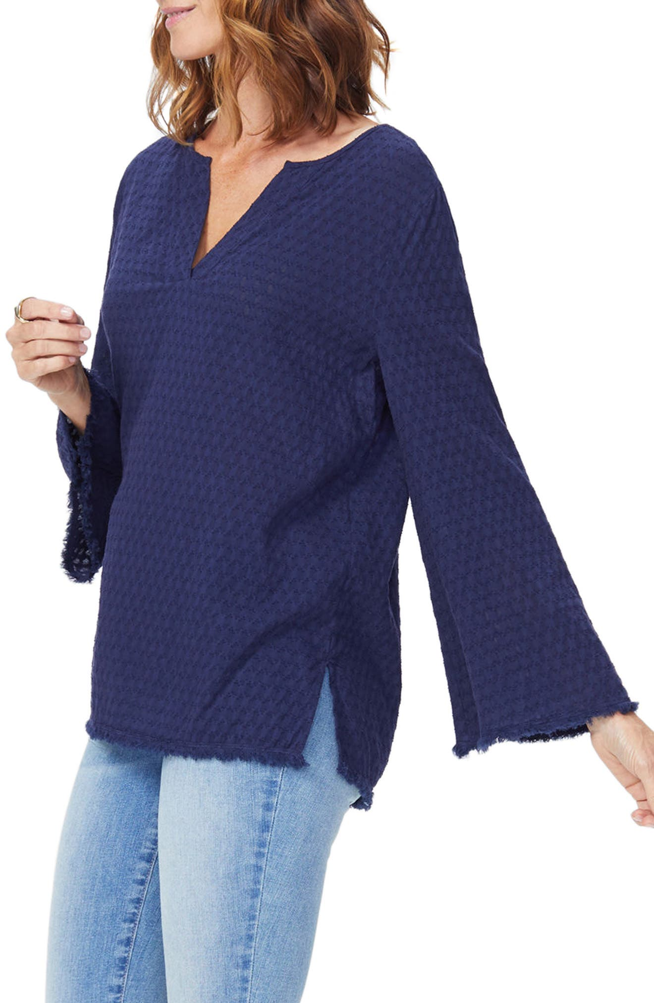 Frayed Edge Bell Sleeve Top,                             Alternate thumbnail 6, color,