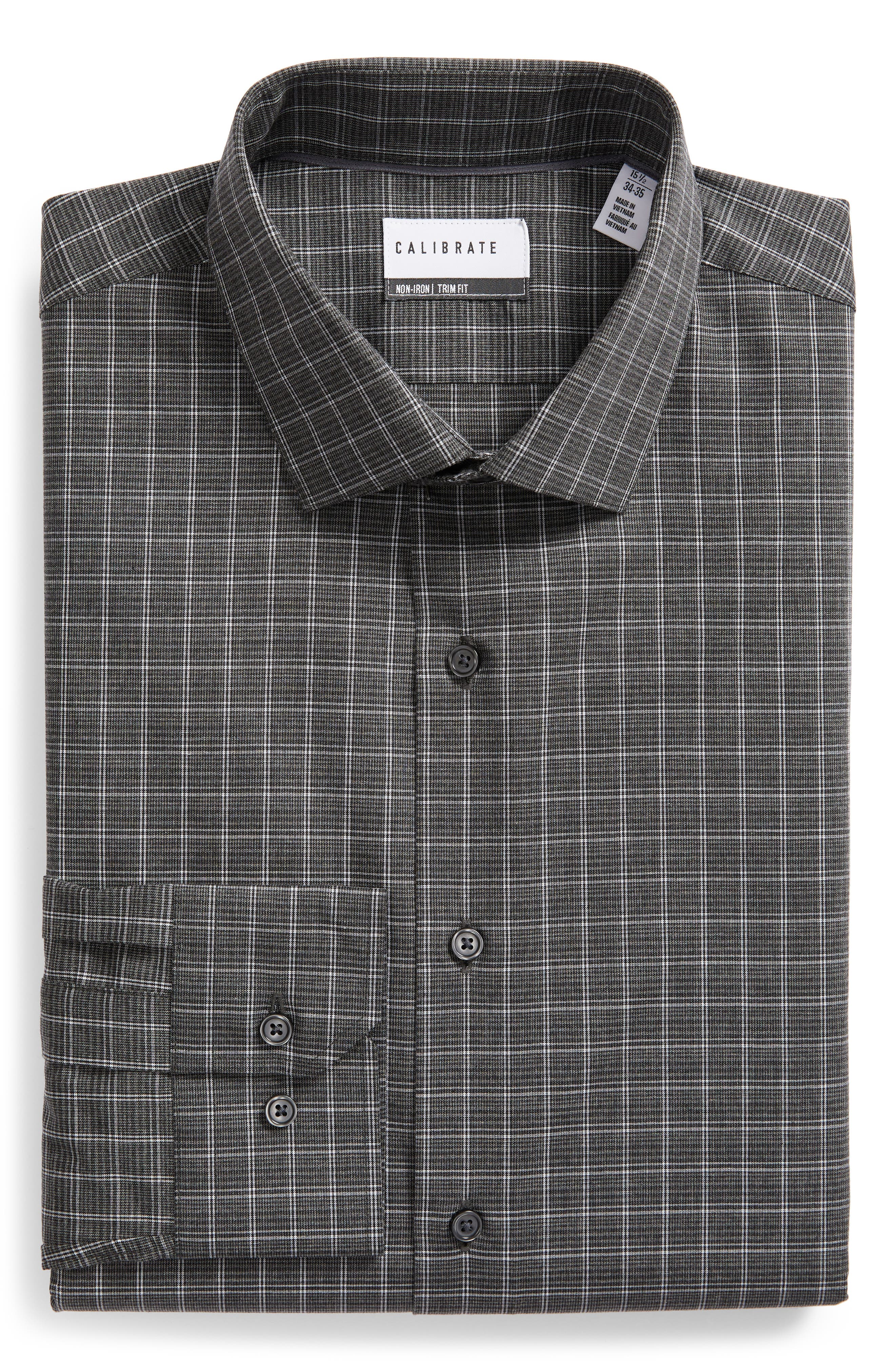 Trim Fit Non-Iron Check Dress Shirt,                             Alternate thumbnail 5, color,                             GREY ONYX