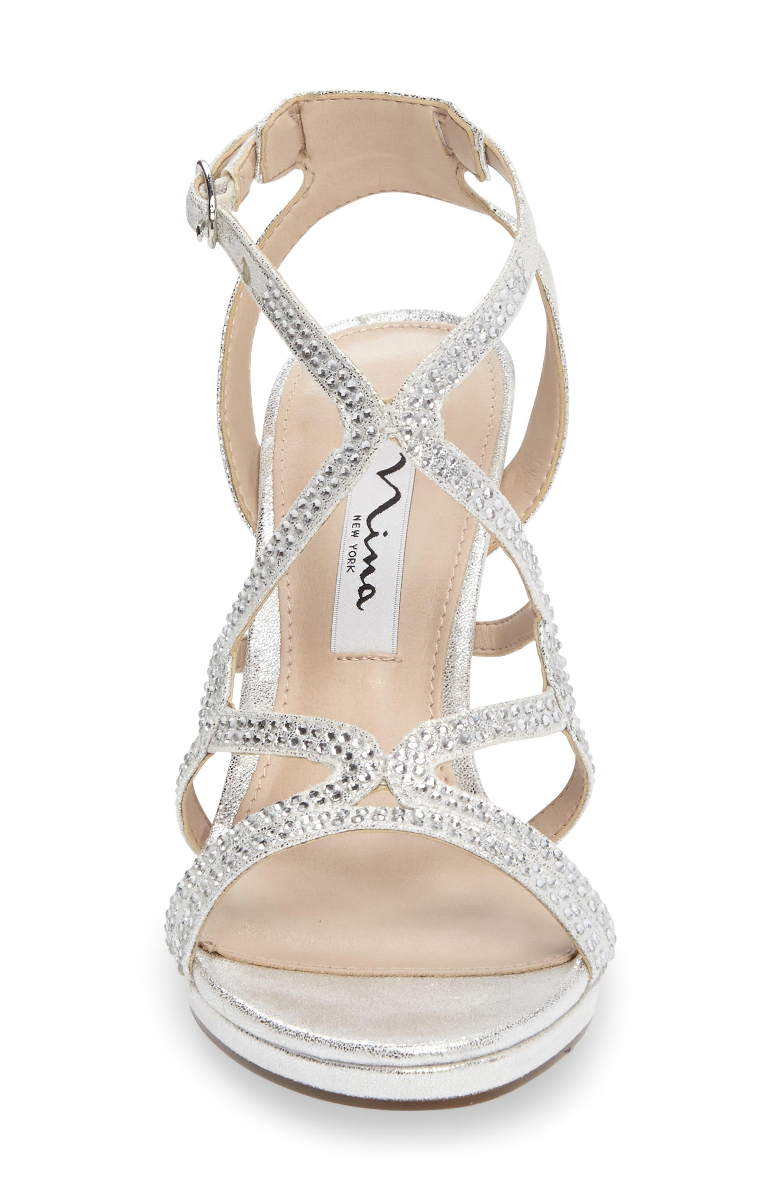 Varsha Crystal Embellished Evening Sandal,                             Alternate thumbnail 4, color,                             SILVER FAUX SUEDE