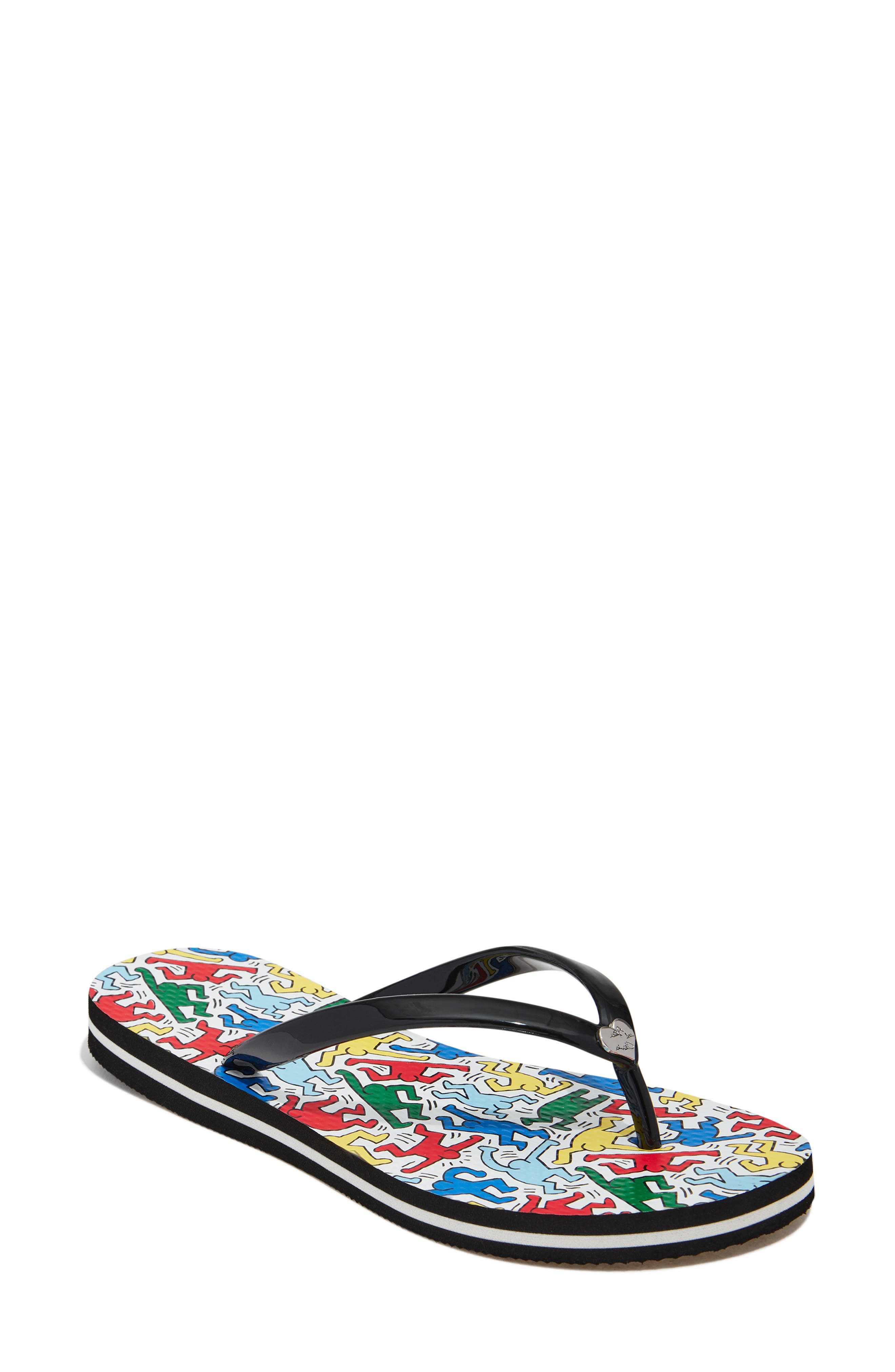 Keith Haring X Alice +Olivia Dancing Man Sandals in Multi/ White