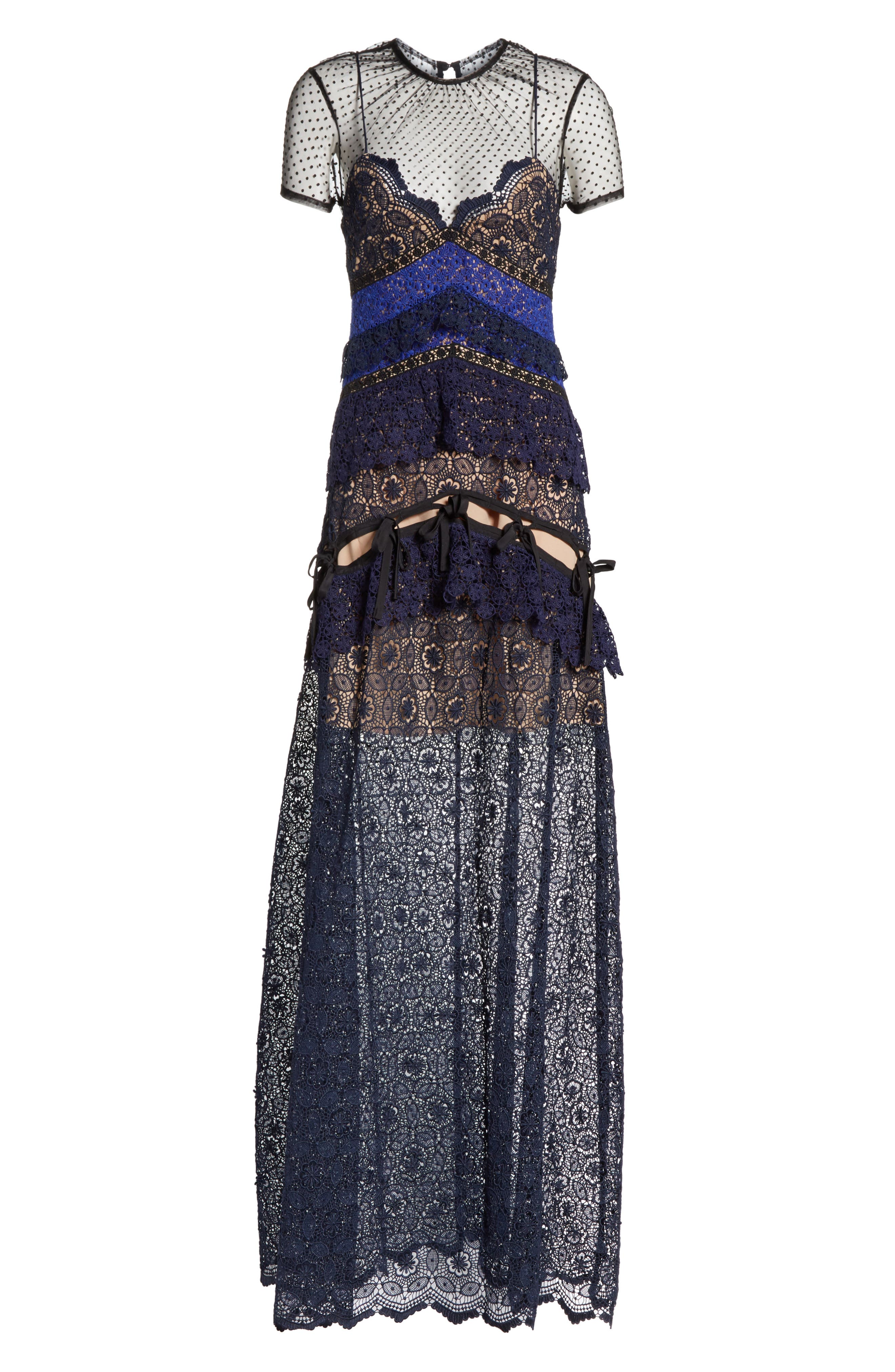 Paneled Lace Maxi Dress,                             Alternate thumbnail 6, color,                             400
