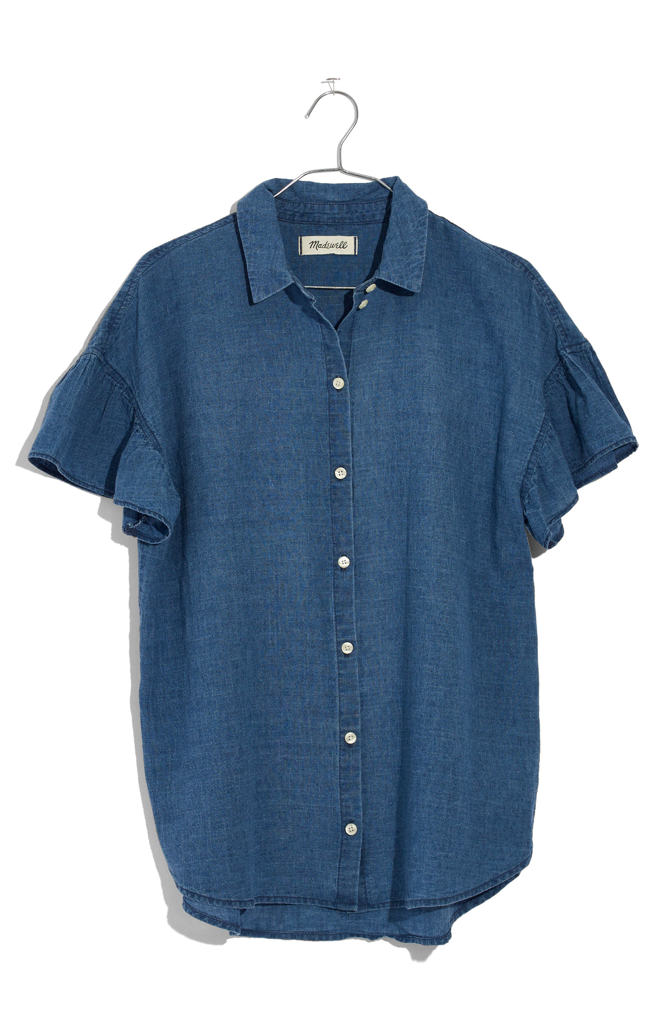 Central Ruffle Sleeve Shirt,                             Alternate thumbnail 4, color,                             400