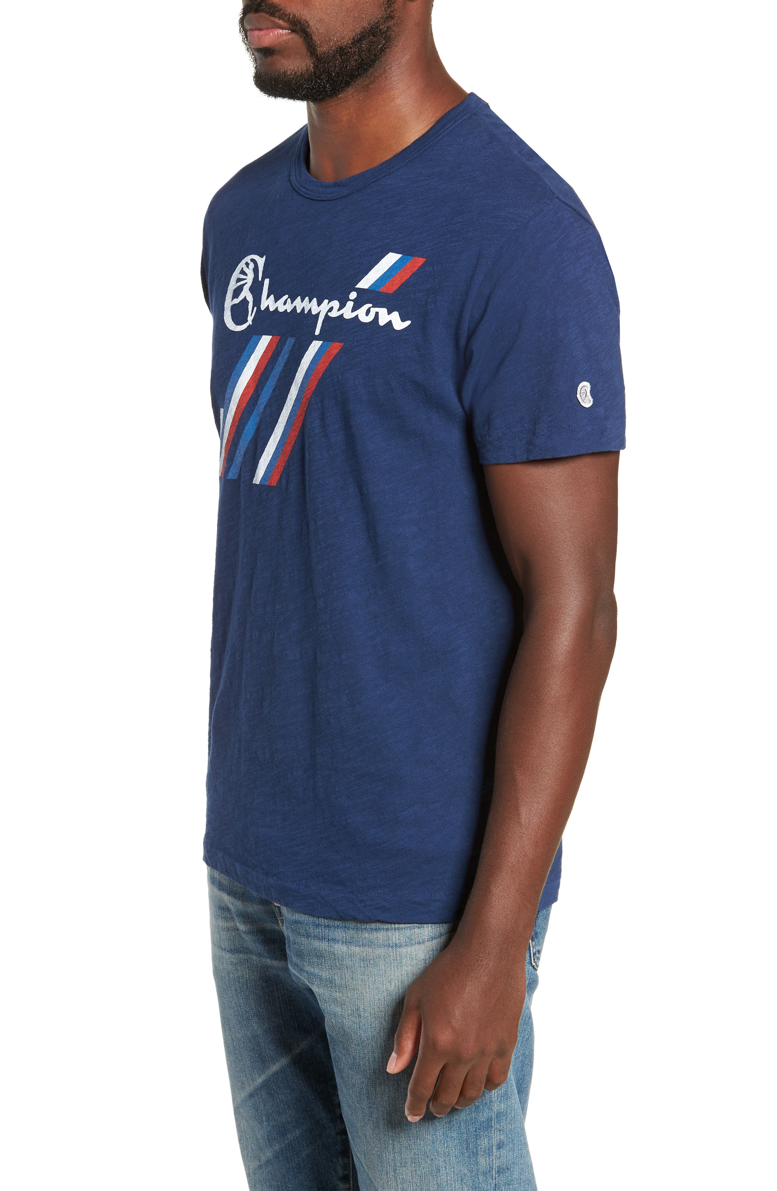 + Champion Stripe Graphic T-Shirt,                             Alternate thumbnail 3, color,                             MARINE