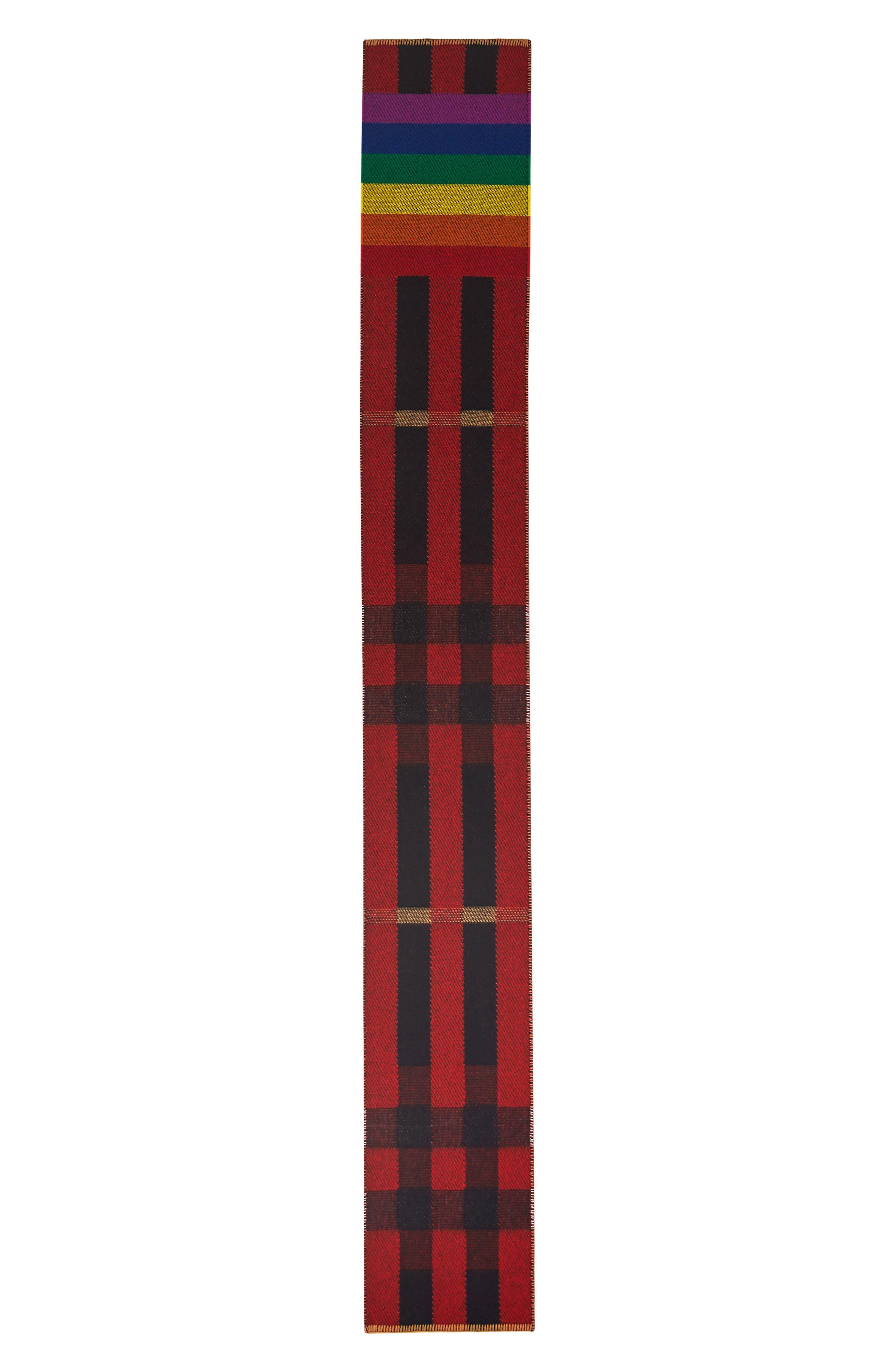 Rainbow Stripe Mega Check Cashmere Blanket Scarf,                             Main thumbnail 1, color,                             200