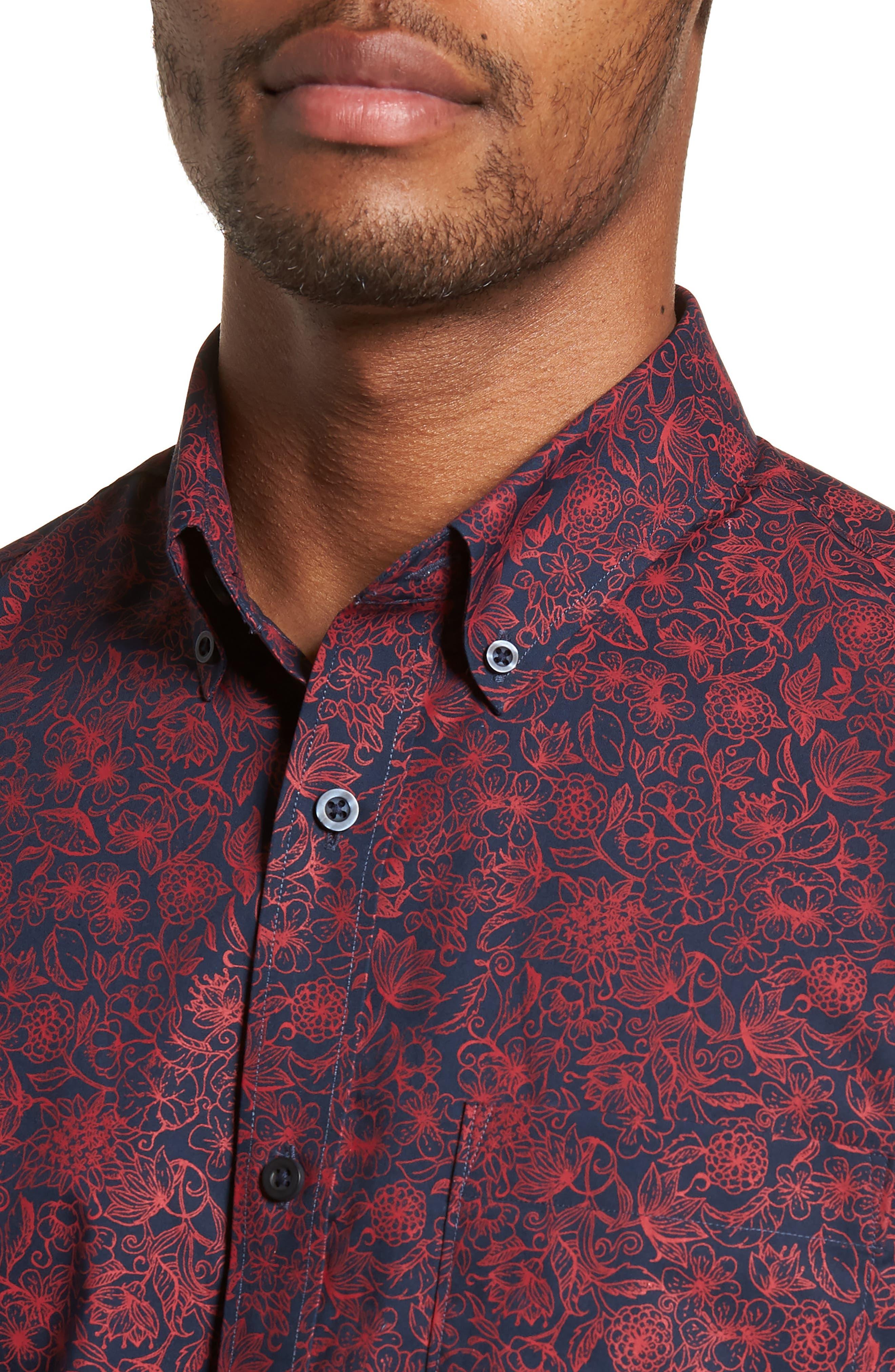 Trim Fit Non-Iron Floral Sport Shirt,                             Alternate thumbnail 4, color,                             410