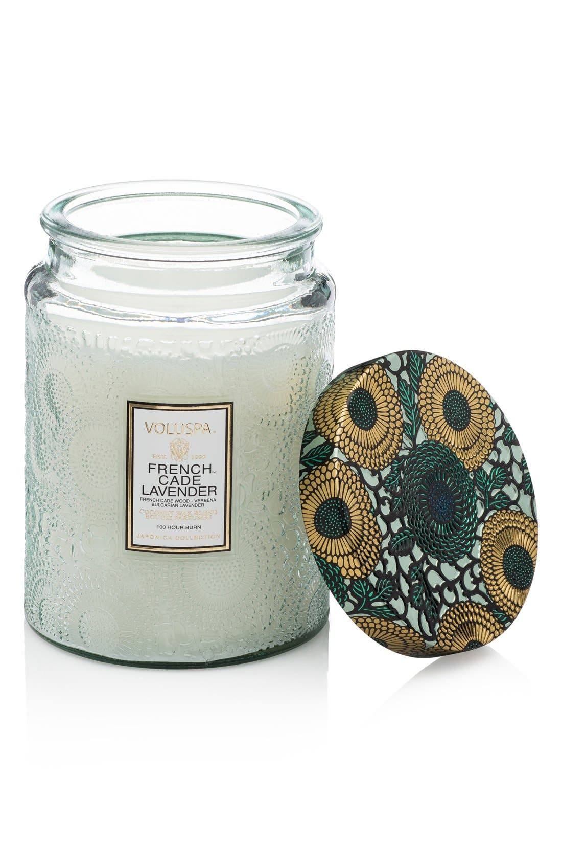 Japonica French Cade Lavender Large Embossed Glass Jar Candle,                             Main thumbnail 1, color,                             NO COLOR