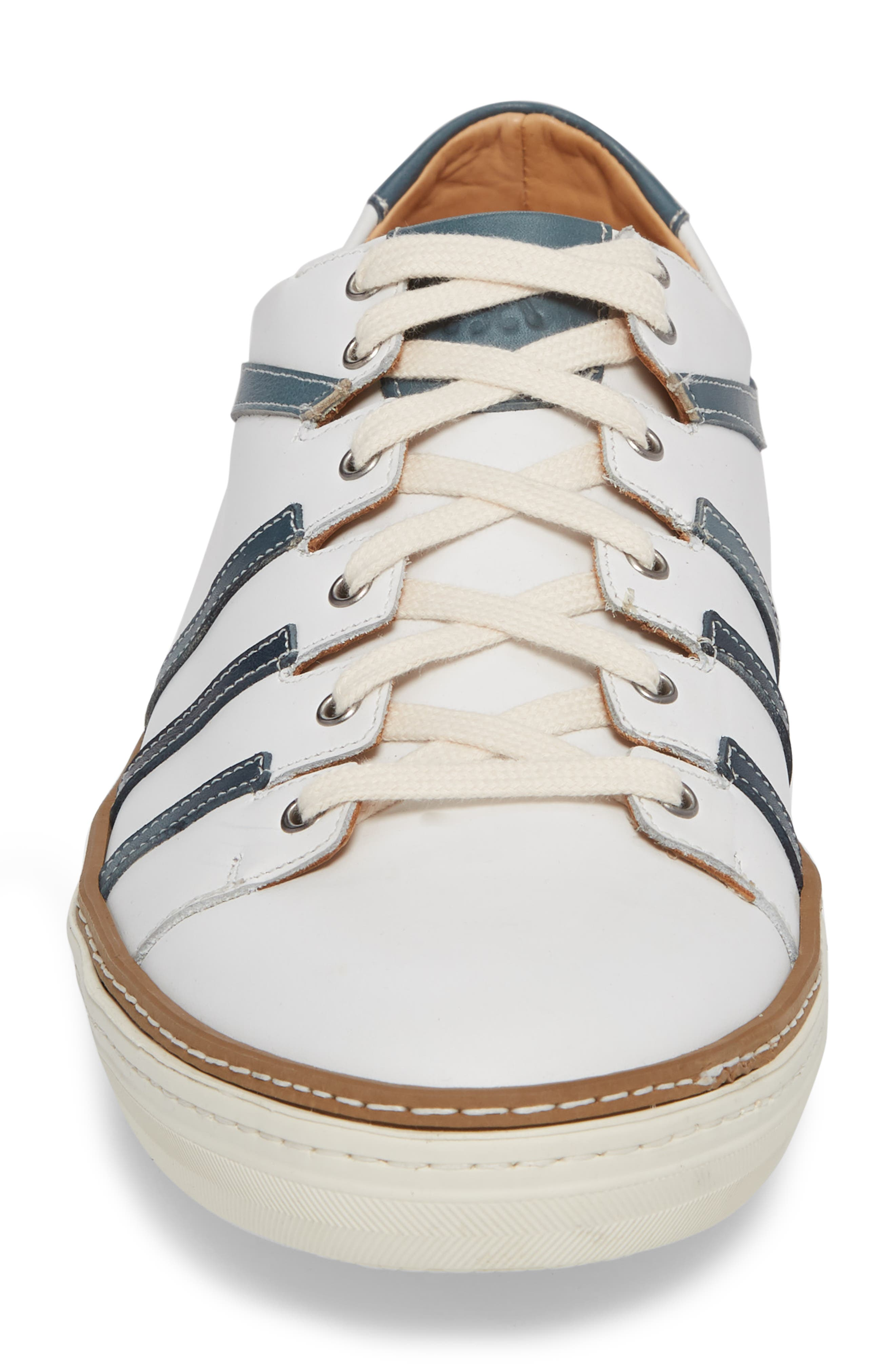 Tebas Striped Low Top Sneaker,                             Alternate thumbnail 4, color,                             WHITE/ JEANS LEATHER