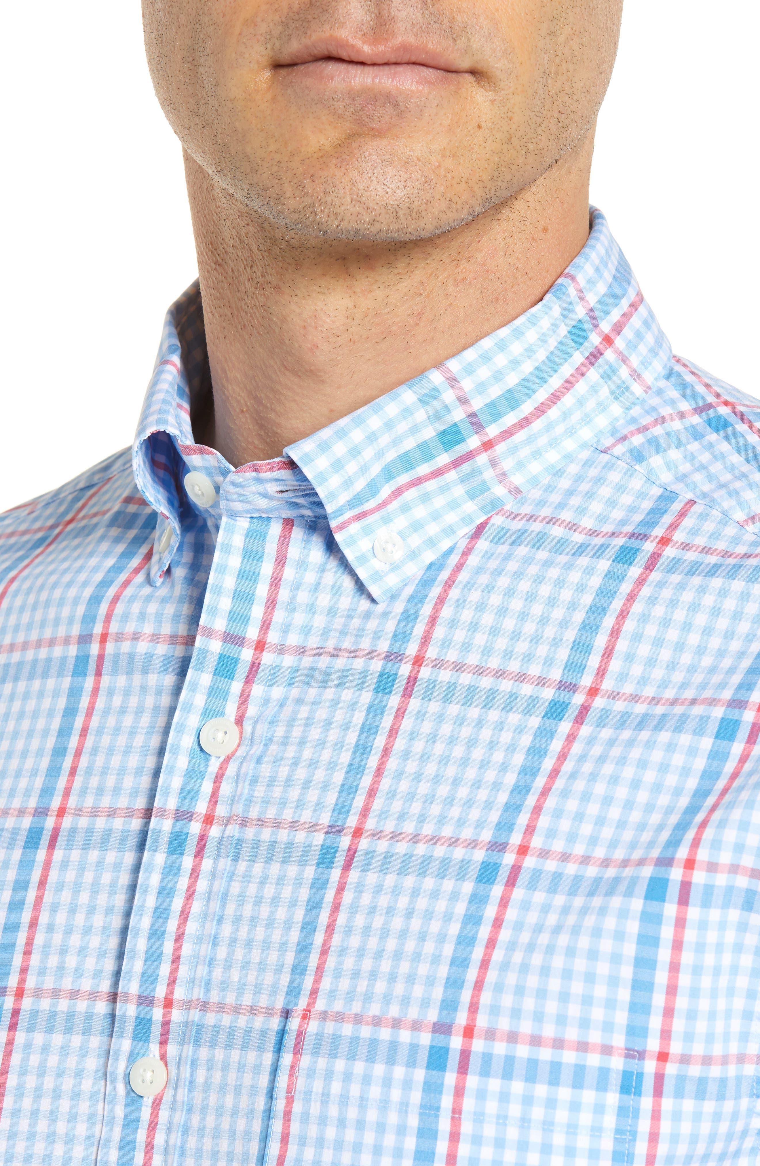 Palmer Island Classic Fit Plaid Sport Shirt,                             Alternate thumbnail 4, color,                             484