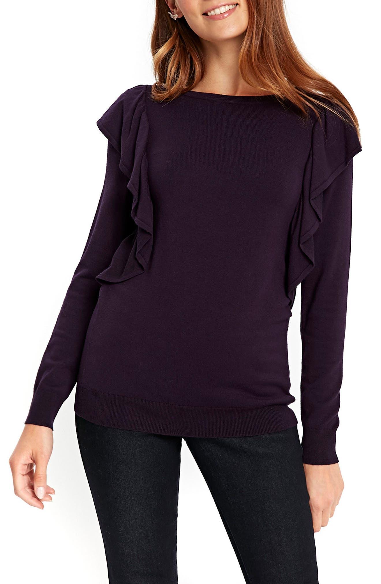 Long Sleeve Ruffle Shoulder Pullover,                             Main thumbnail 2, color,