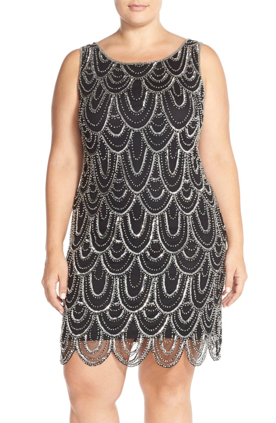 Beaded Sheath Dress,                             Main thumbnail 4, color,