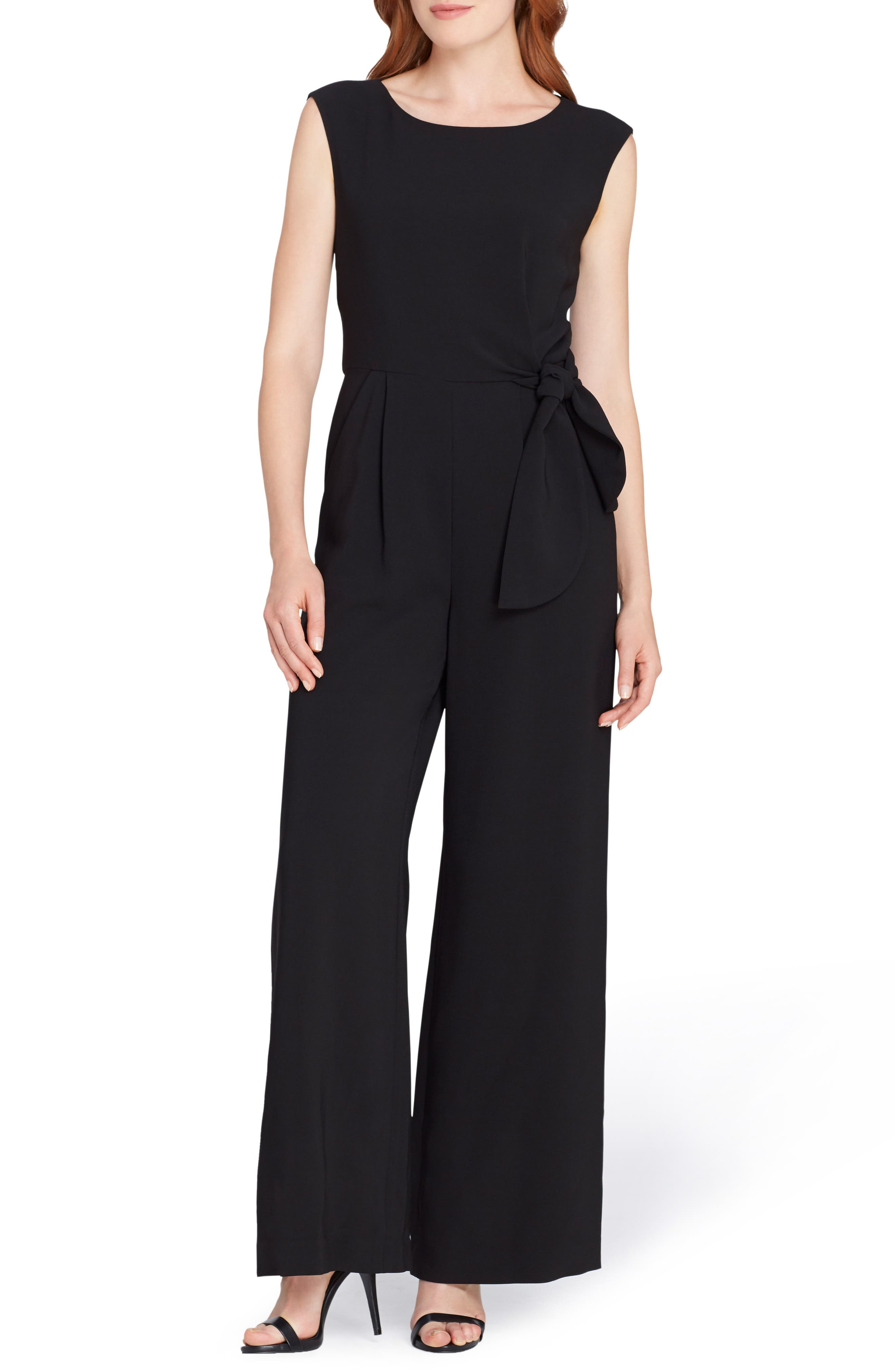 Side Tie Sleeveless Crepe Jumpsuit,                         Main,                         color, 001