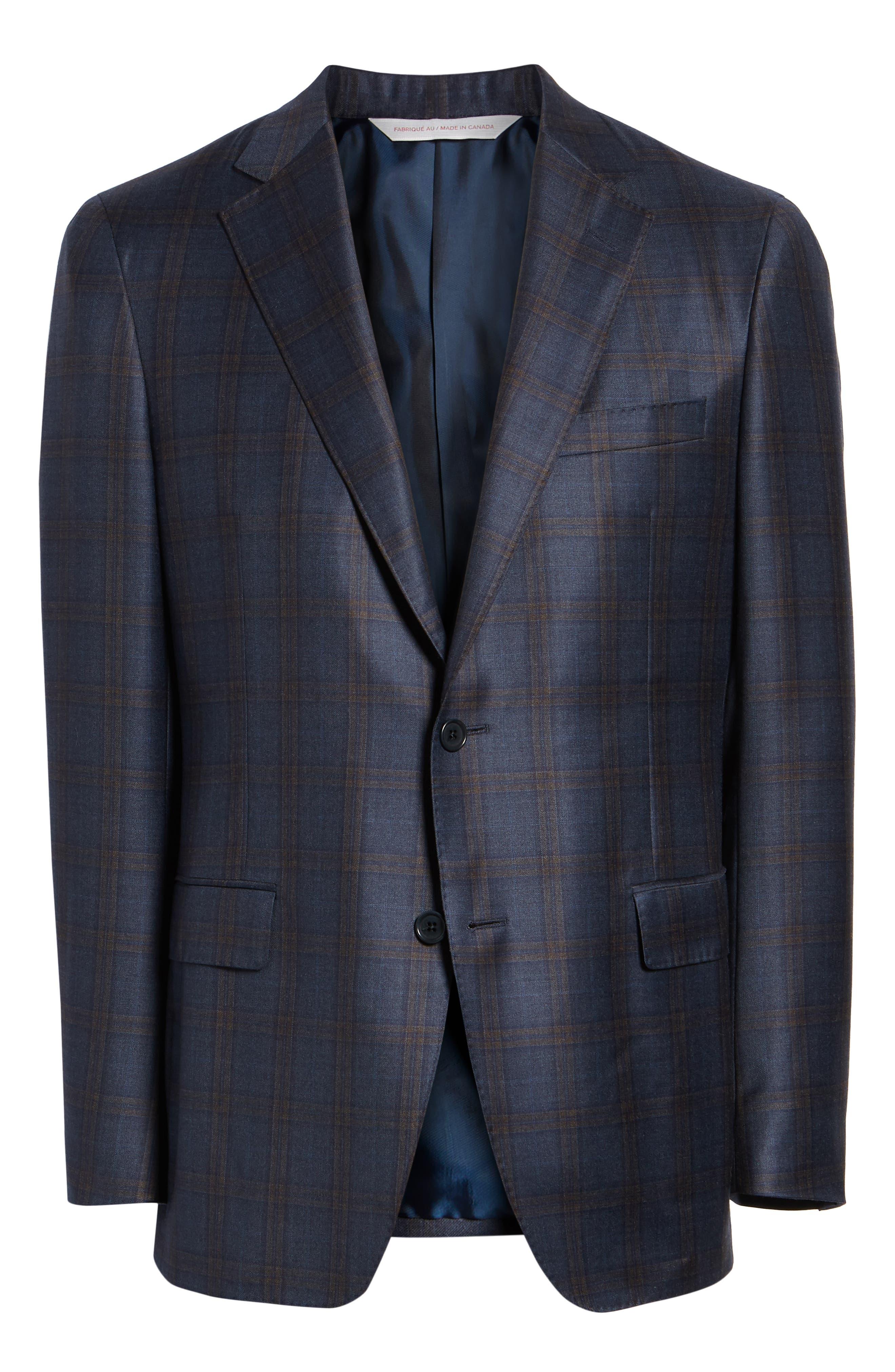 Classic Fit Plaid Wool Sport Coat,                             Alternate thumbnail 5, color,                             BLUE/ BROWN