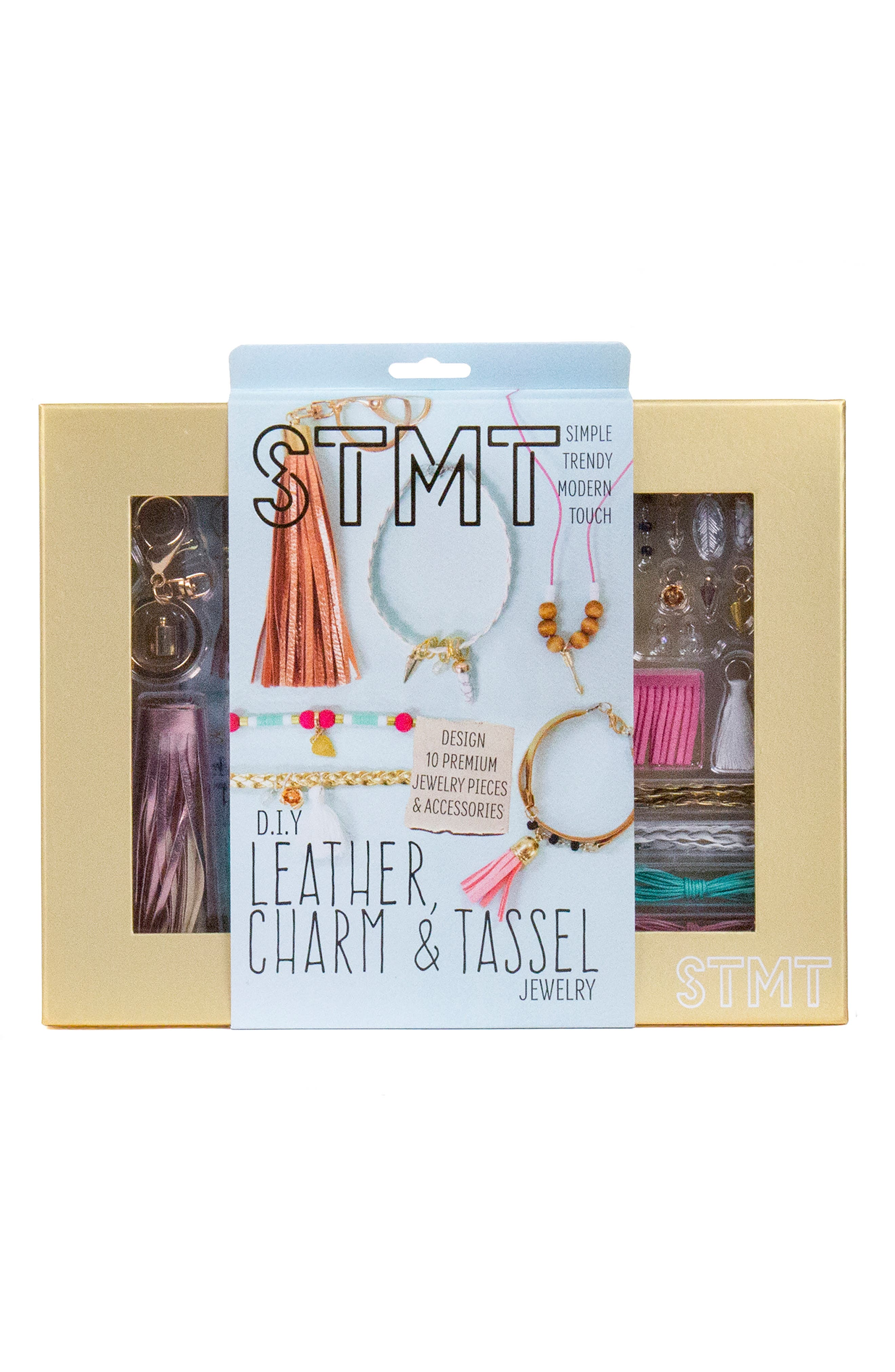 DIY Leather, Charm & Tassel Jewelry Set,                             Main thumbnail 1, color,                             N/ A