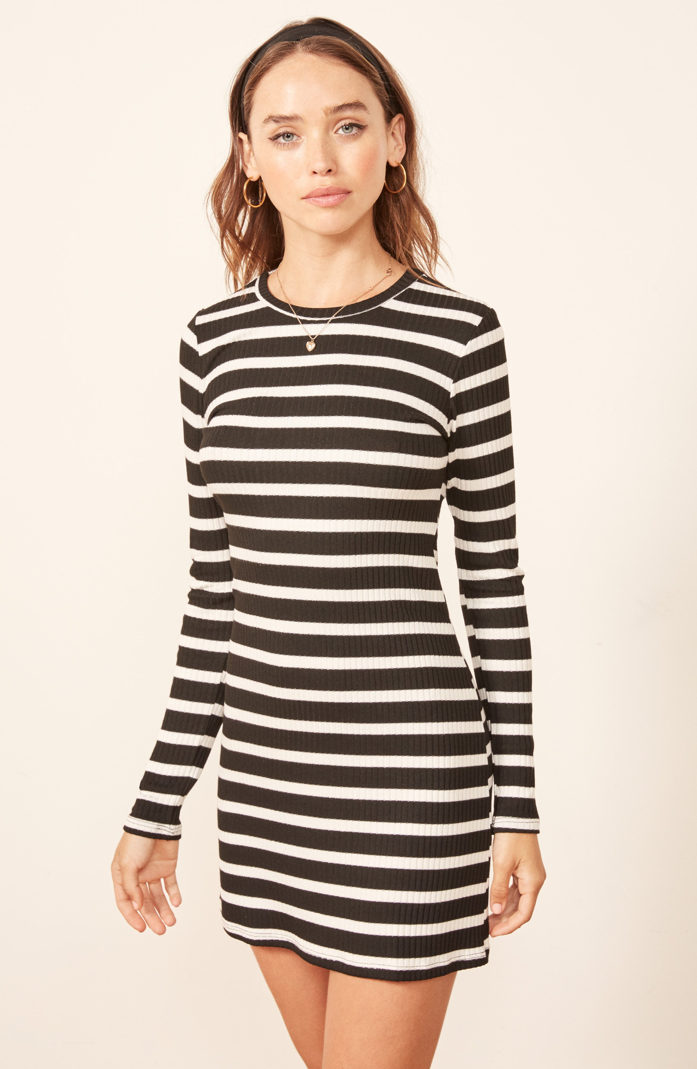 Jeanne Rib Knit Dress,                             Alternate thumbnail 6, color,                             HENRI STRIPE