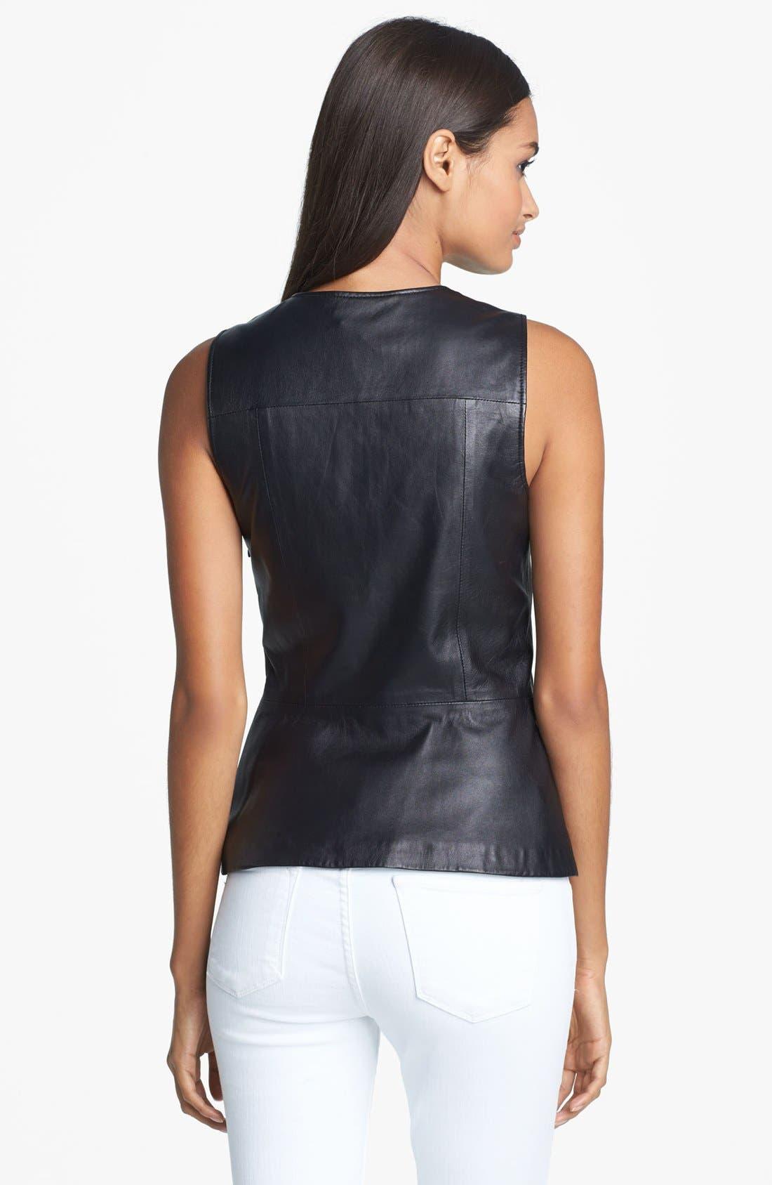 'Etia L.' Leather Top,                             Alternate thumbnail 3, color,                             001