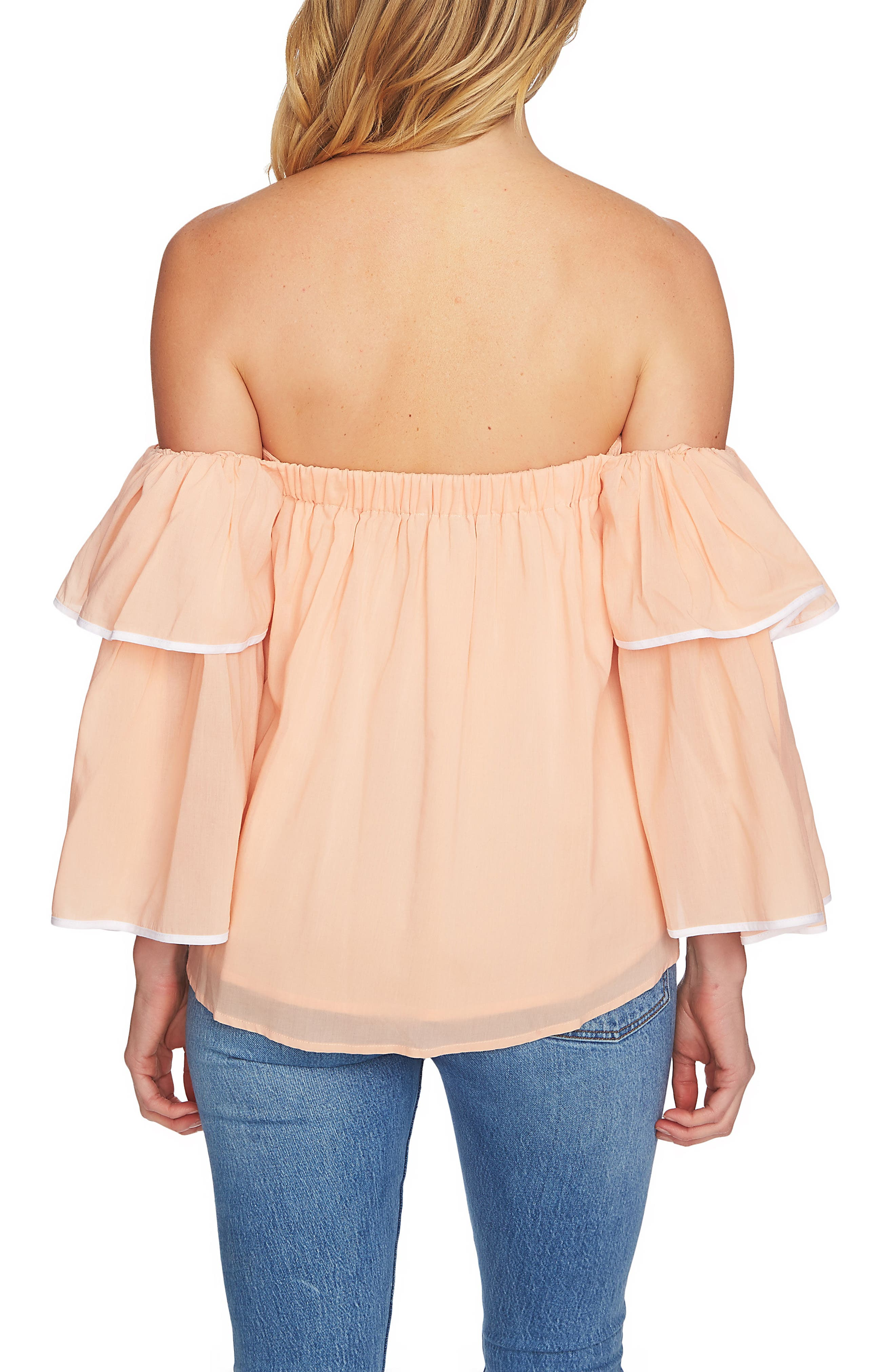 Tiered Sleeve Off the Shoulder Top,                             Alternate thumbnail 8, color,