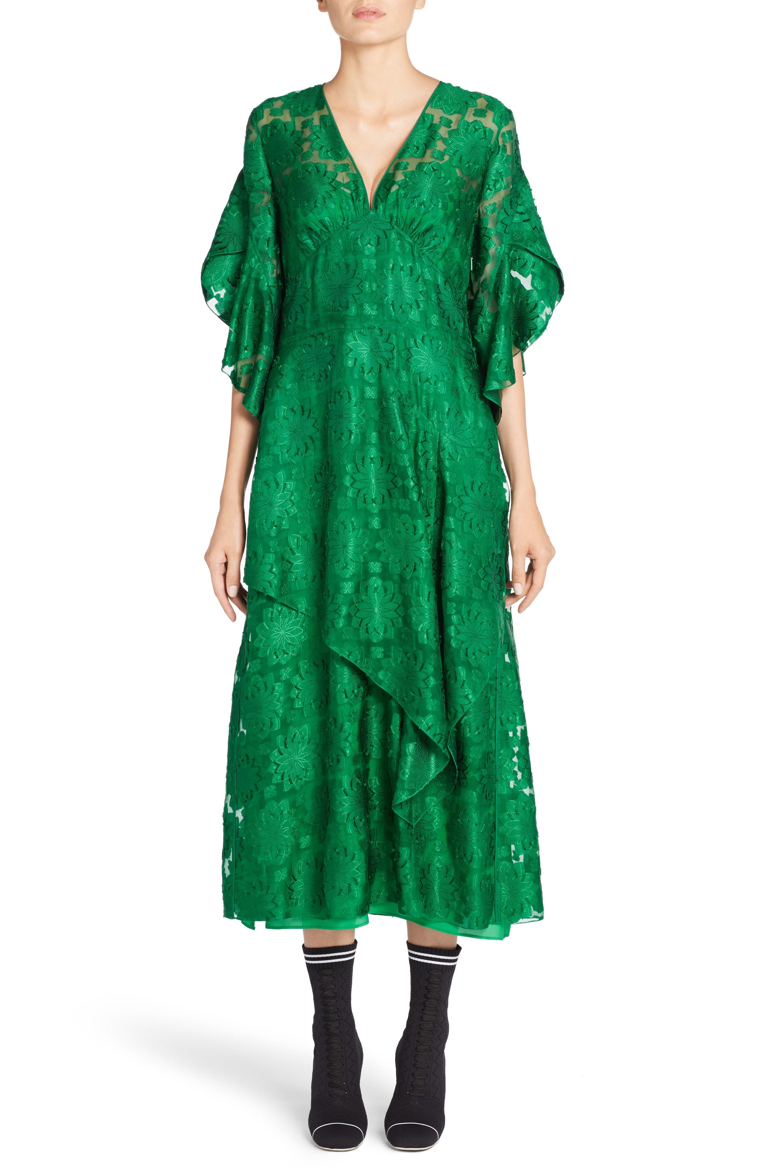 Daisy Fil Coupé Midi Dress,                             Alternate thumbnail 5, color,                             001