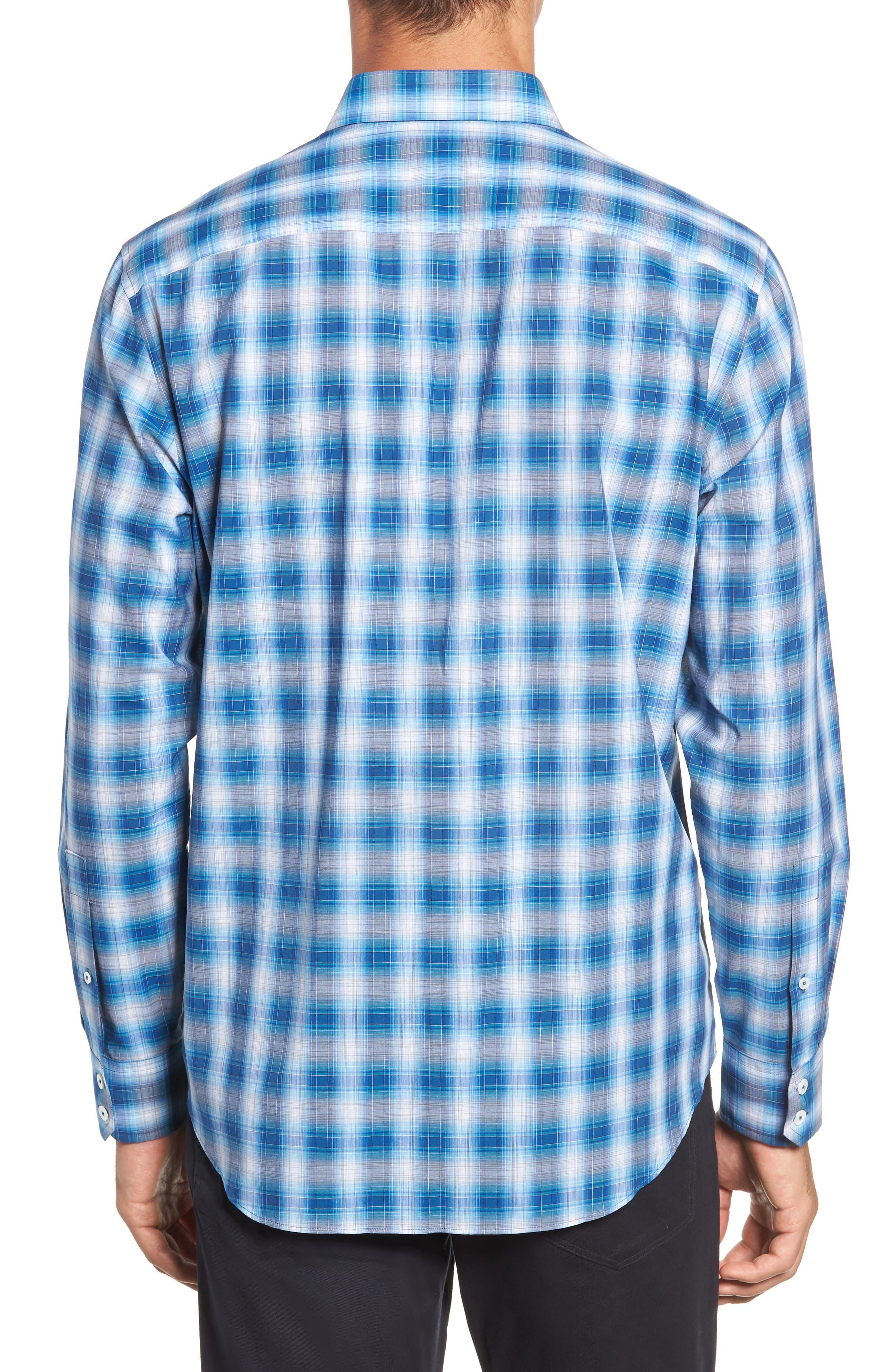 Holtsinger Plaid Sport Shirt,                             Alternate thumbnail 3, color,                             BRIGHT BLUE