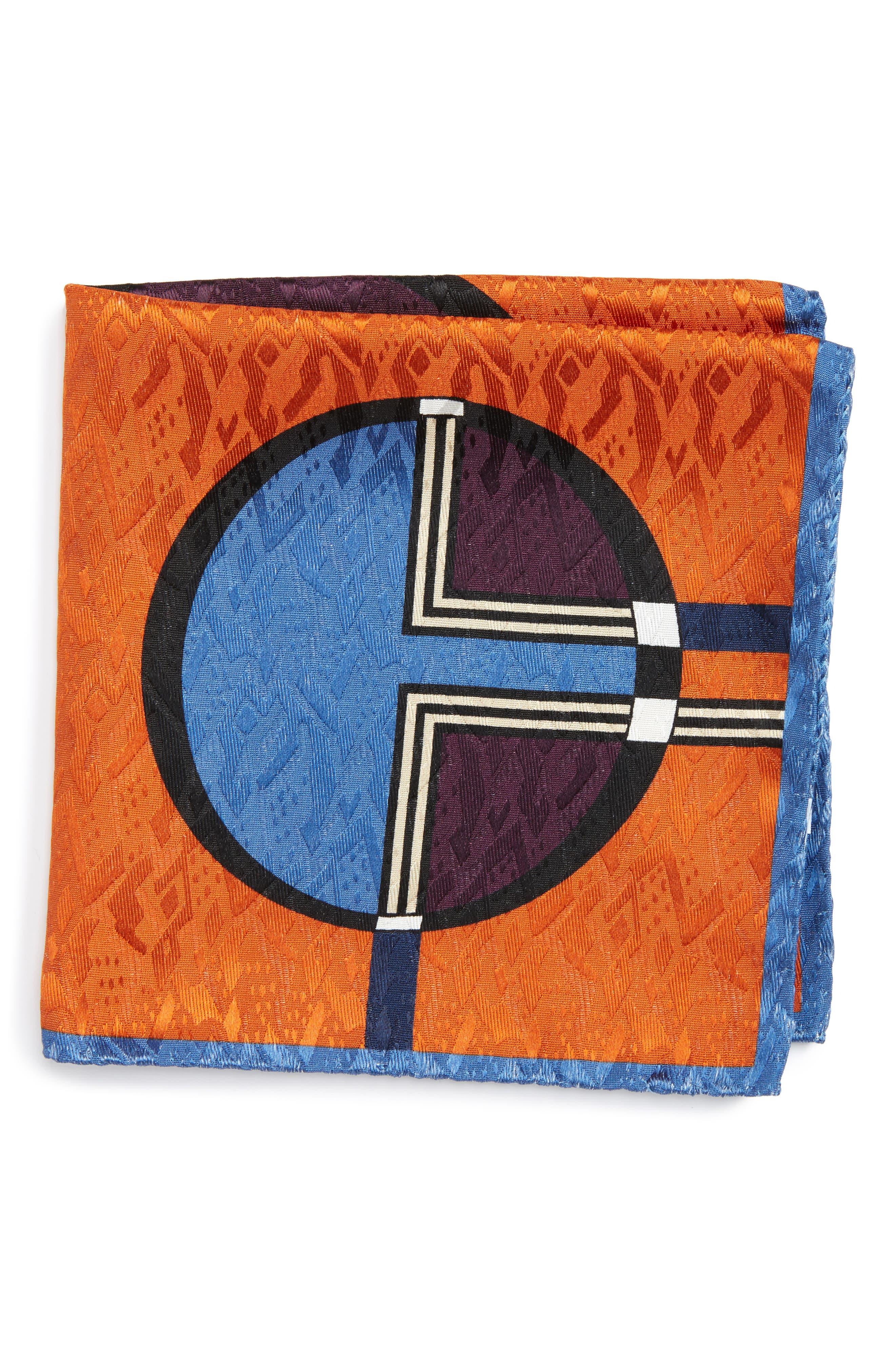 Dot Jacquard Silk Pocket Square,                             Main thumbnail 3, color,
