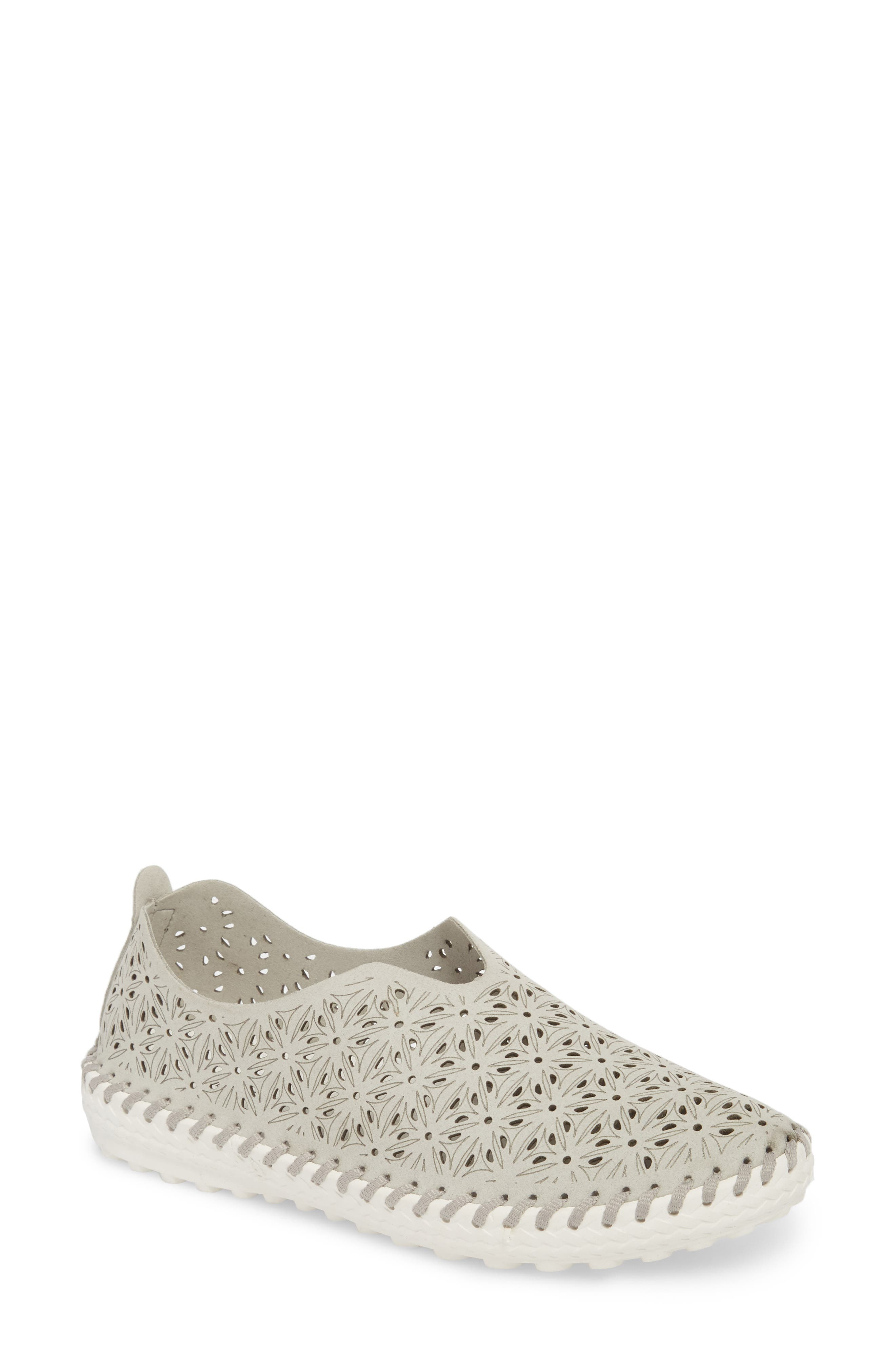 Perforated Slip-On Flat,                             Main thumbnail 1, color,                             LIGHT GREY LEATHER