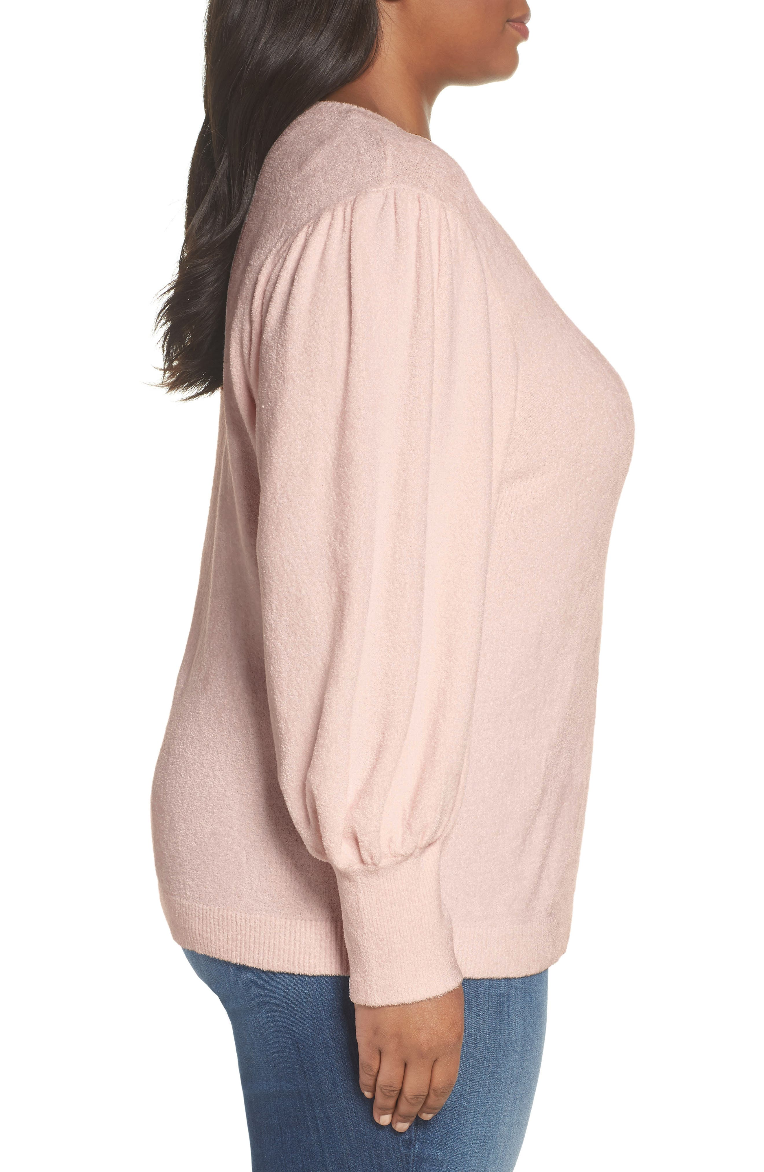 Puff Sleeve Sweater,                             Alternate thumbnail 3, color,                             PINK HERO