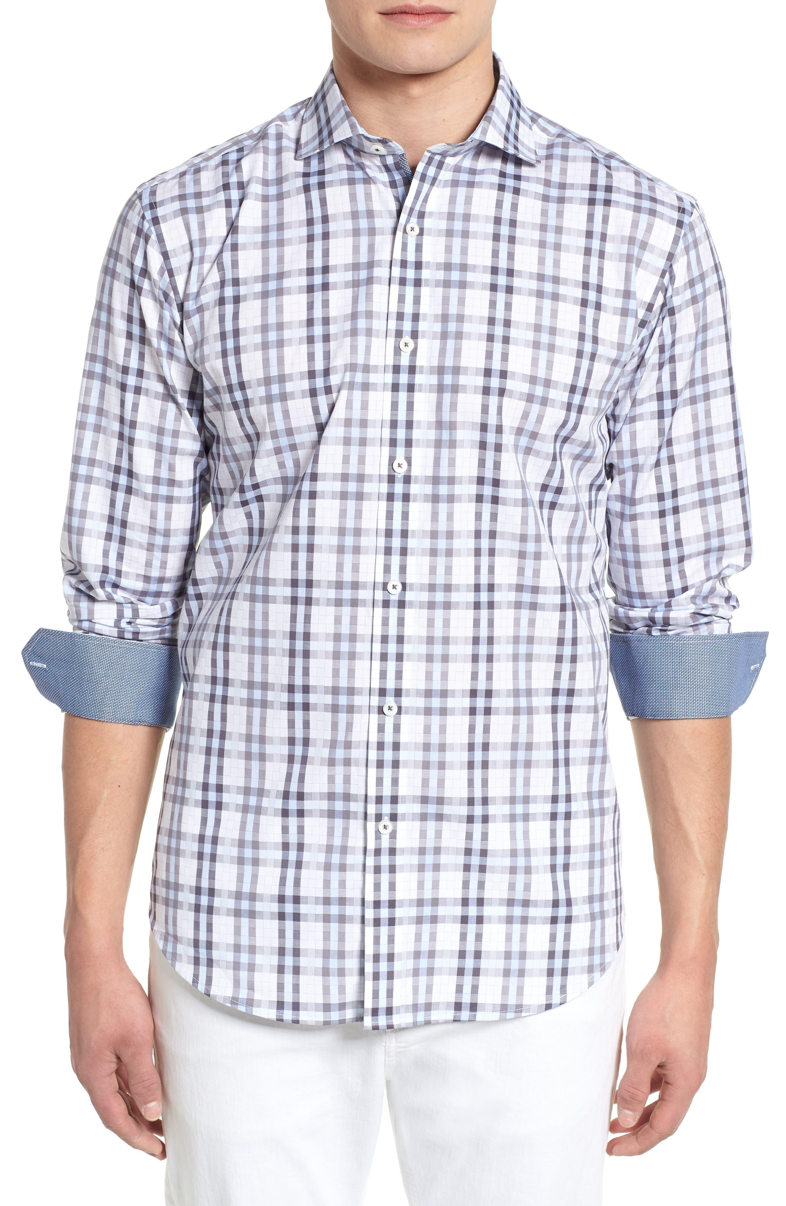 Shaped Fit Check Sport Shirt,                             Main thumbnail 1, color,                             459