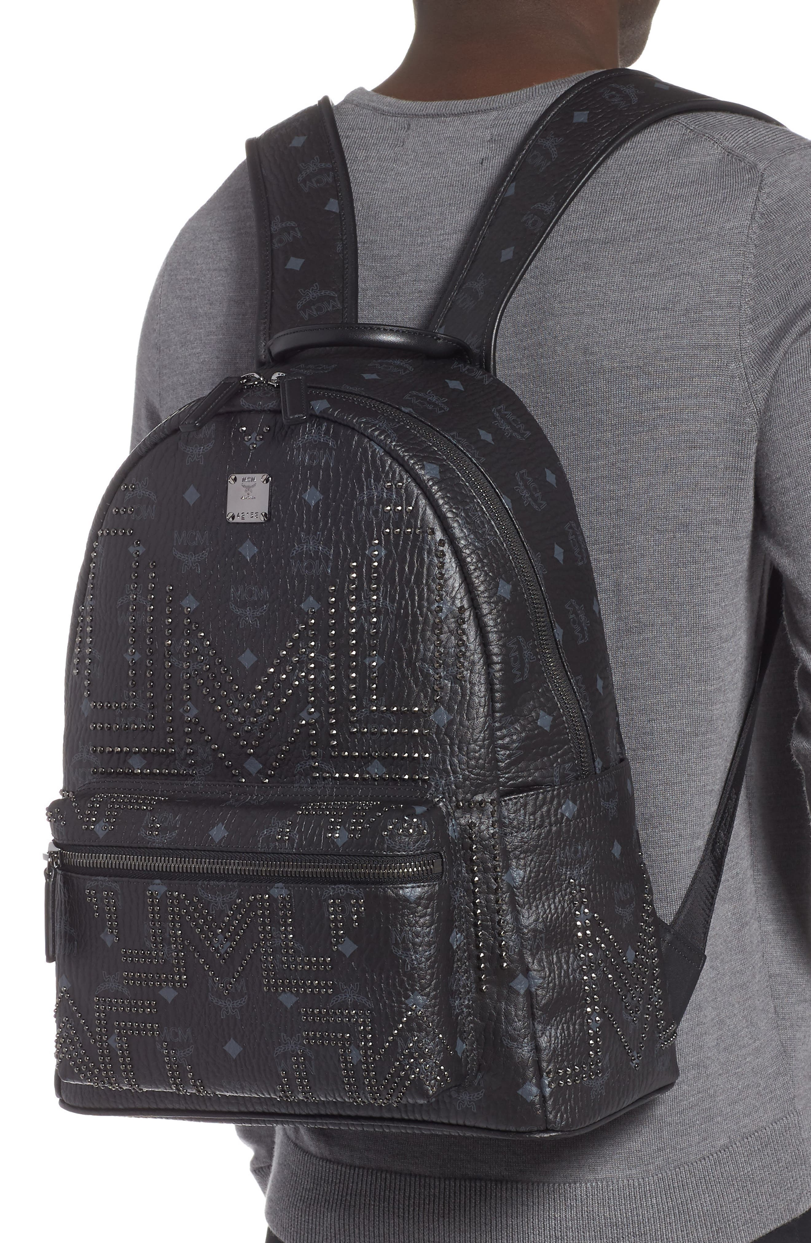 Stark Stud Faux Leather Backpack,                             Alternate thumbnail 2, color,                             BLACK