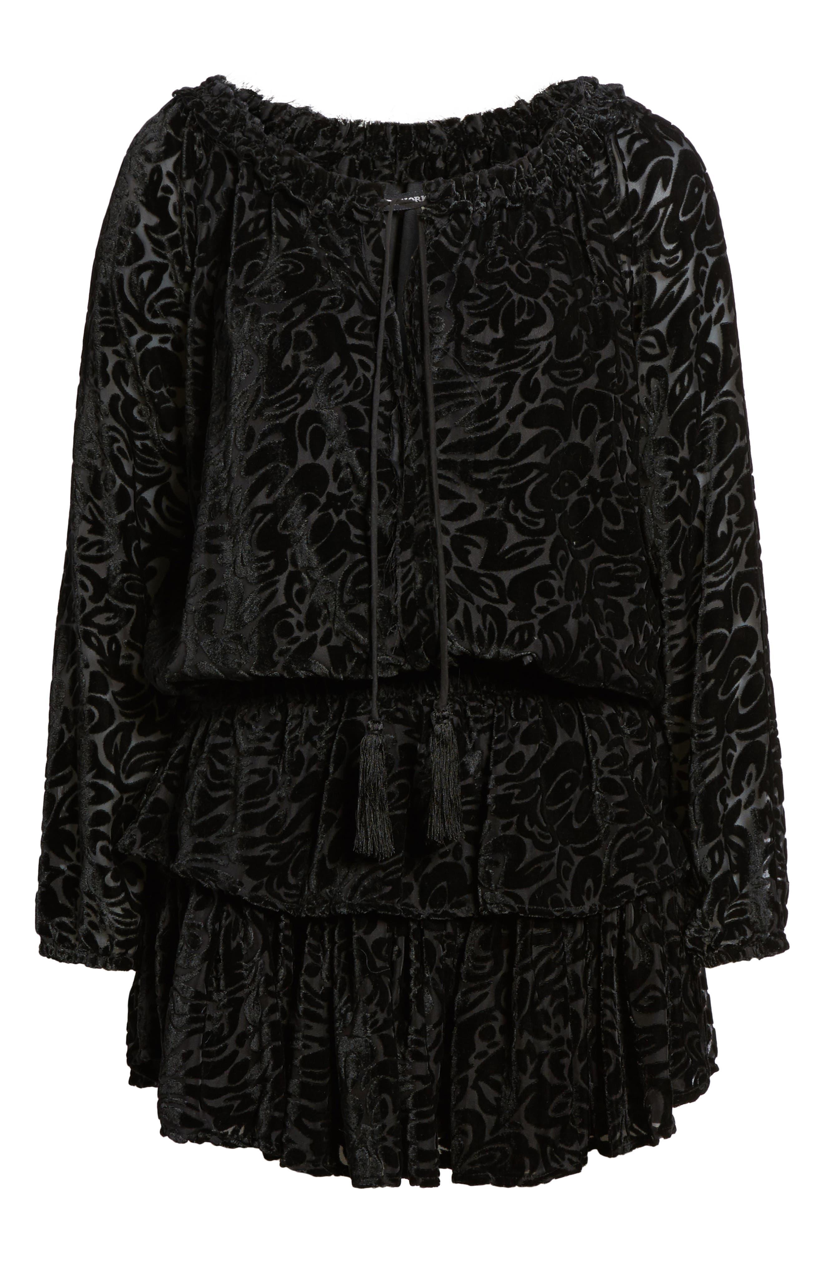 Ember Velvet Burnout Smocked Dress,                             Alternate thumbnail 6, color,                             001