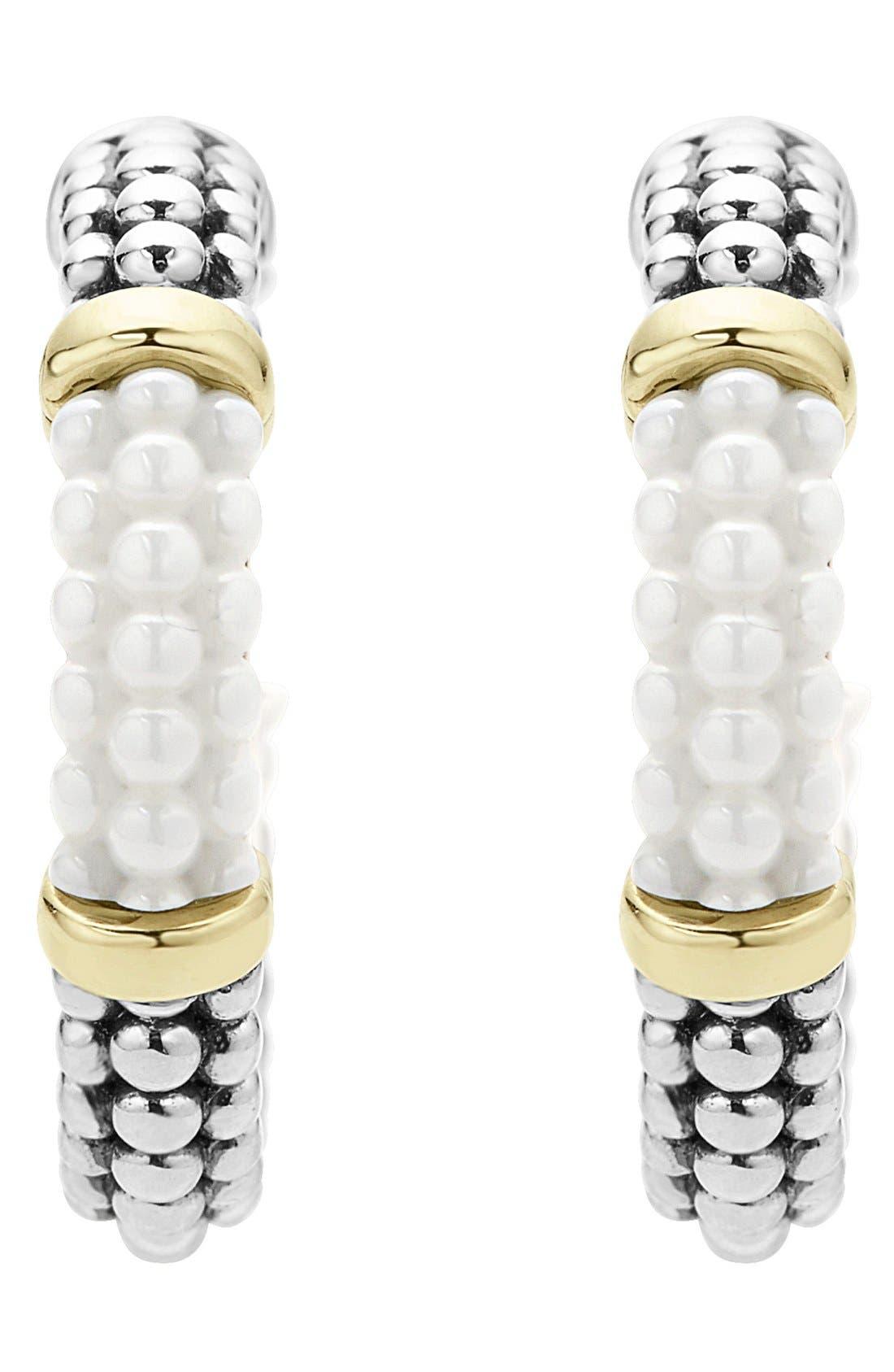 'Black & White Caviar' Hoop Earrings,                             Alternate thumbnail 3, color,                             WHITE/ GOLD