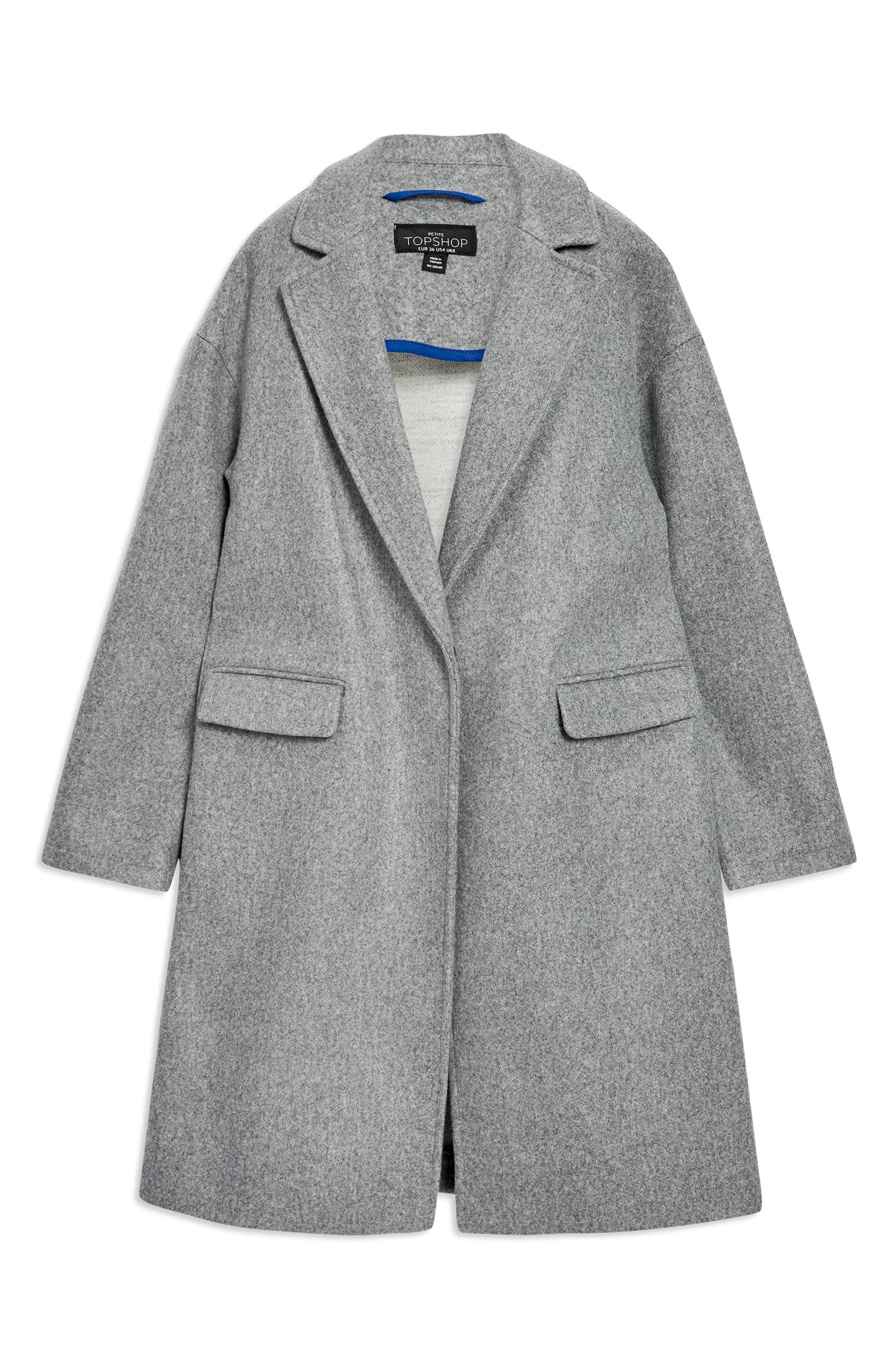 Lily Knit Back Midi Coat,                             Alternate thumbnail 4, color,                             GREY MARL